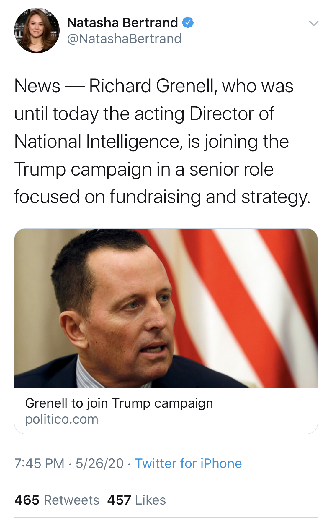 Natasha Bertrand, a Politico reporter, deleted a tweet where she shared the Politico report that Grenell has since pushed back on. (Screenshot Twitter Natasha Bertrand)