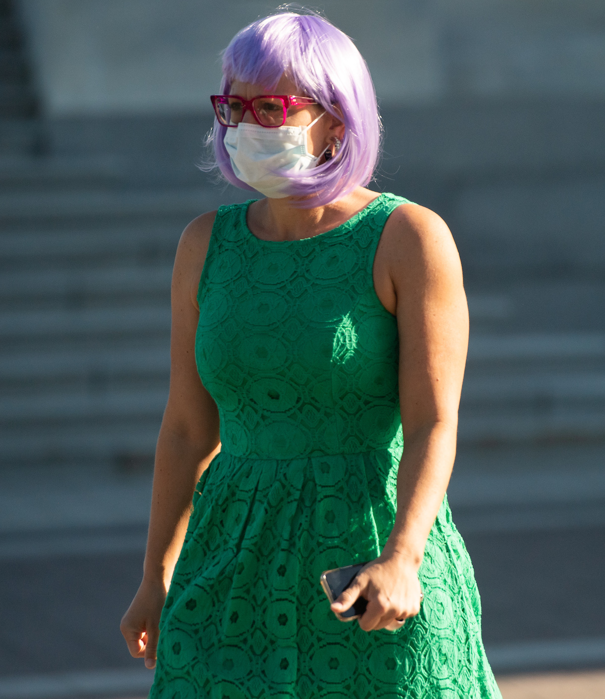 US Senator Kyrsten Sinema (D-AZ) wearing a mask to protect herself and others from COVID-19, known as coronavirus, leaves following a vote at the US Capitol in Washington, DC, May 4, 2020. (Photo by SAUL LOEB/AFP via Getty Images)