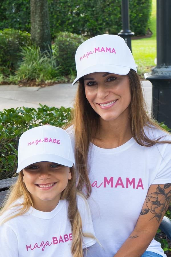 """MAGA Mama"" gear and ""MAGA Babe"" gear for children, photo courtesy of the Trump campaign."