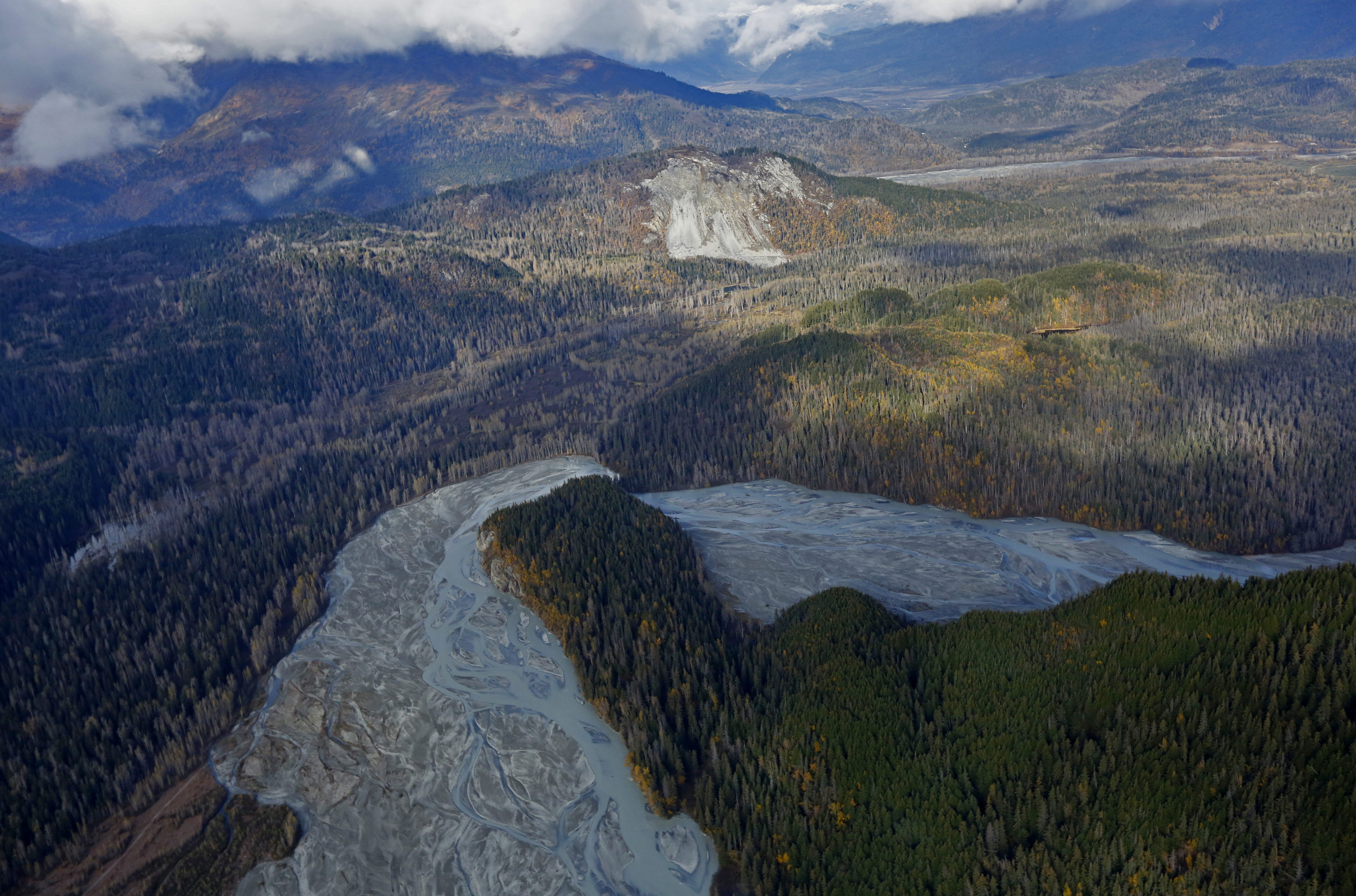 The Tsirku River winds through forest as seen in an aerial view near Haines, in southwestern Alaska, U.S. on October 7, 2014. REUTERS/Bob Strong