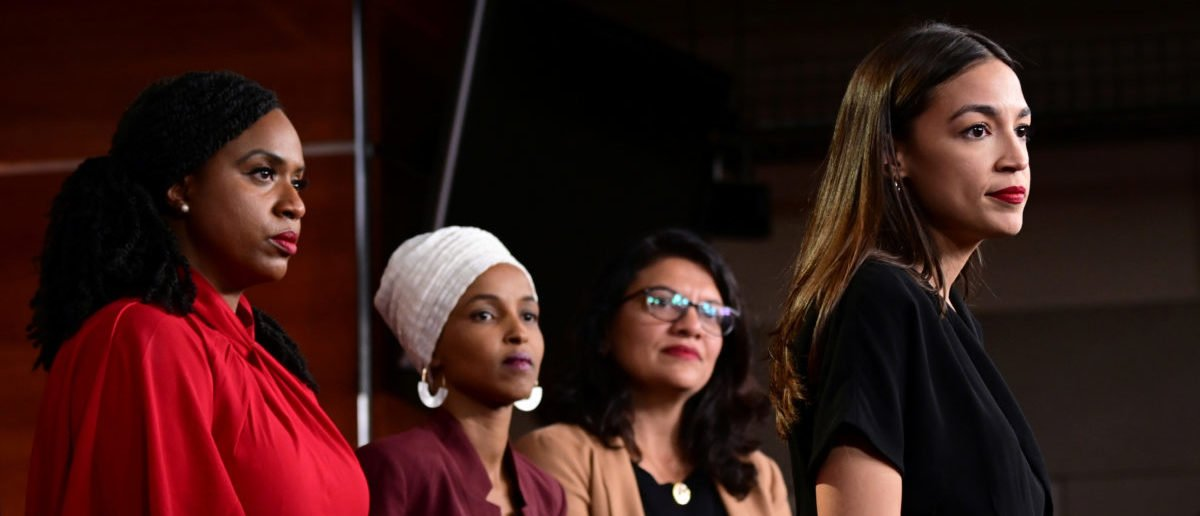 U.S. Reps Ayanna Pressley (D-MA), Ilhan Omar (D-MN), Rashida Tlaib (D-MI) and Alexandria Ocasio-Cortez (D-NY) hold a news conference after Democrats in the U.S. Congress moved to formally condemn President Donald Trump's attacks on the four minority congresswomen on Capitol Hill in Washington, U.S., July 15, 2019. [REUTERS/Erin Scott]
