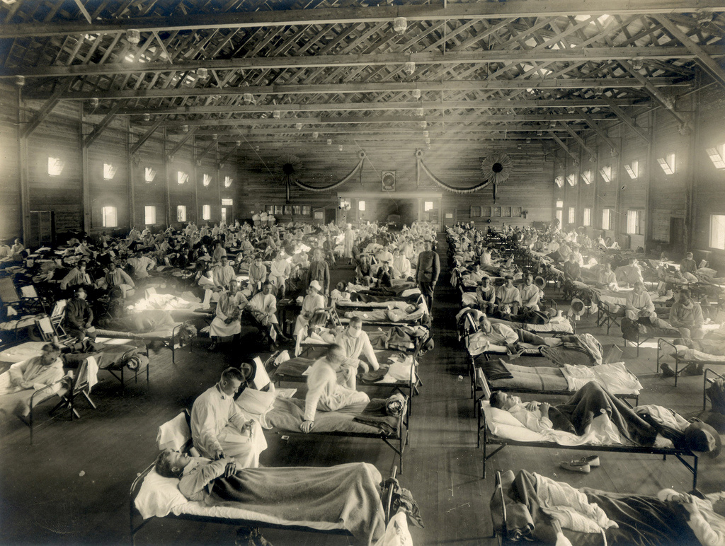 Soldiers are quarantined while recovering from the Spanish flu at Camp Funston, Kansas, U.S. in 1918. U.S. Army/Handout via REUTERS.