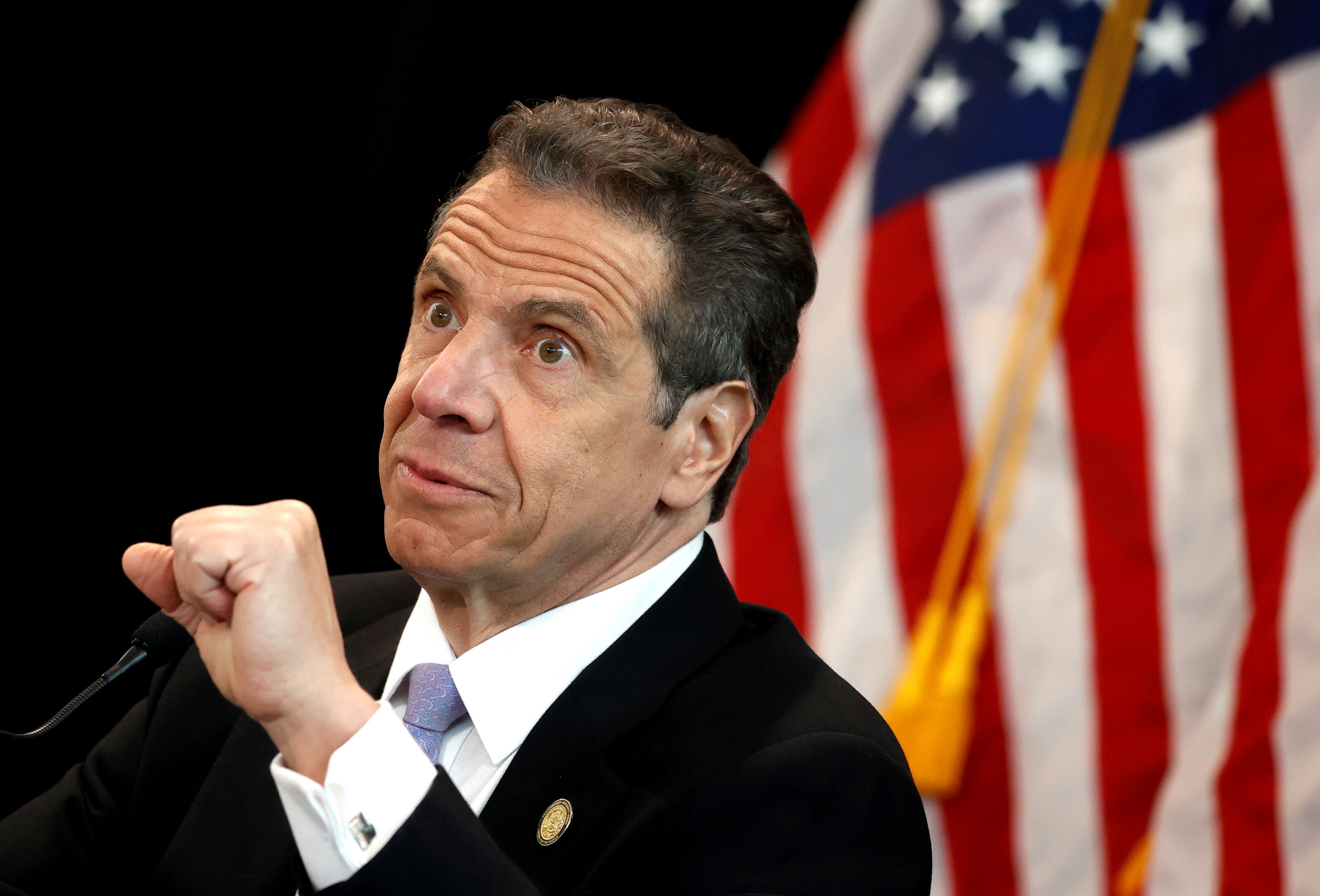 New York Governor Andrew Cuomo holds his daily briefing at New York Medical College during the outbreak of the coronavirus disease (COVID-19) in Valhalla, New York, U.S., May 7, 2020. REUTERS/Mike Segar