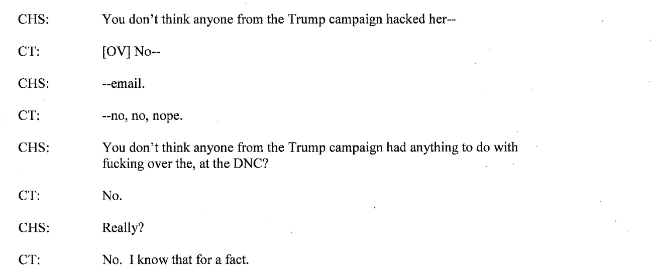 Screenshot of the transcript between a confidential human source and George Papadopoulos