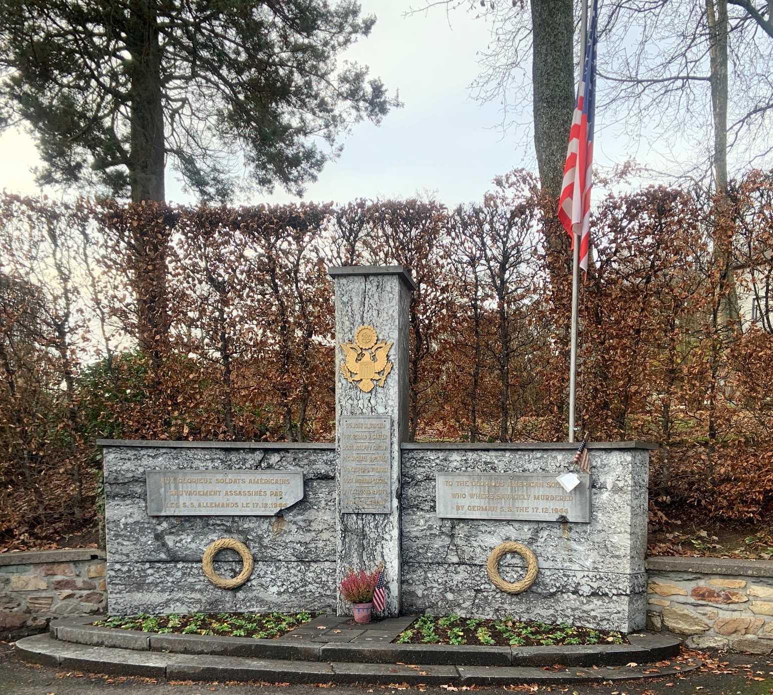 Malmedy memorial to American soldiers. Photo: Virginia Kruta