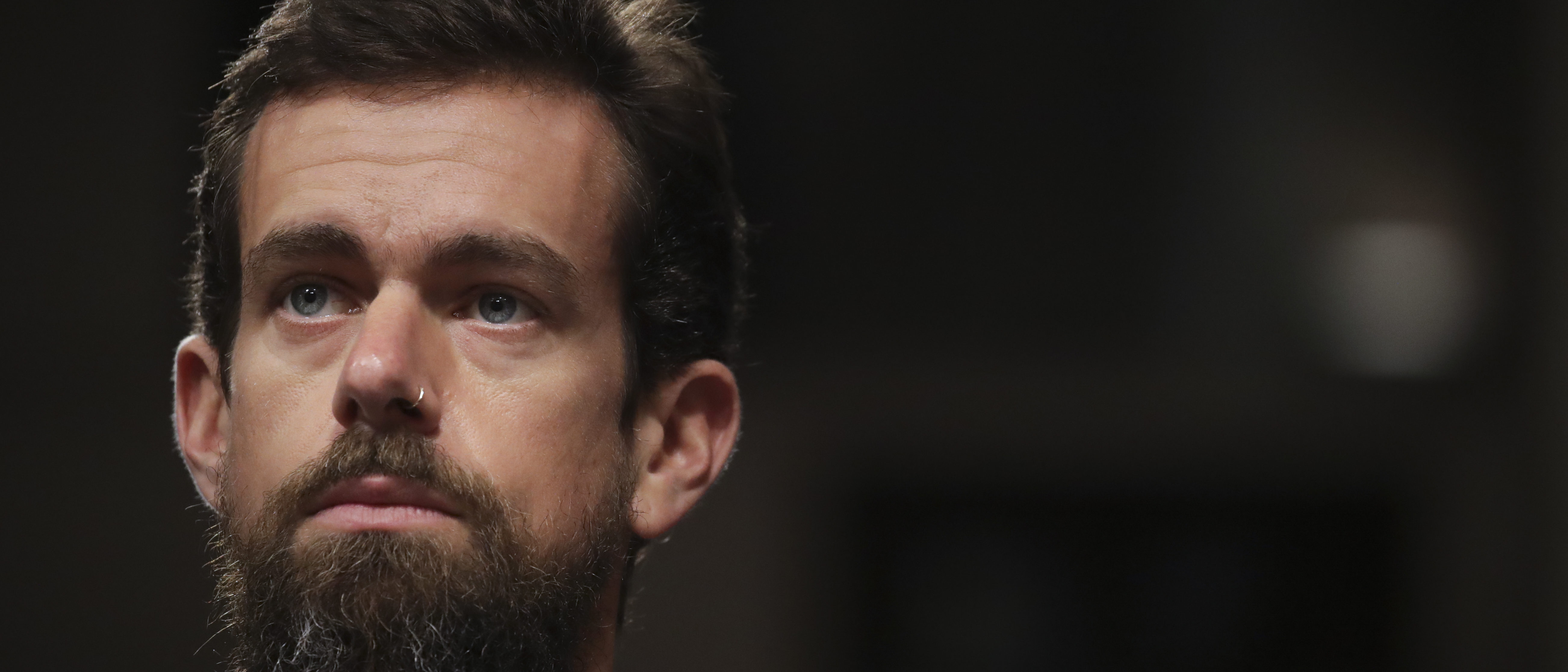 Twitter chief executive officer Jack Dorsey looks on during a Senate Intelligence Committee hearing concerning foreign influence operations' use of social media platforms, on Capitol Hill, September 5, 2018 in Washington, DC. (Drew Angerer/Getty Images)