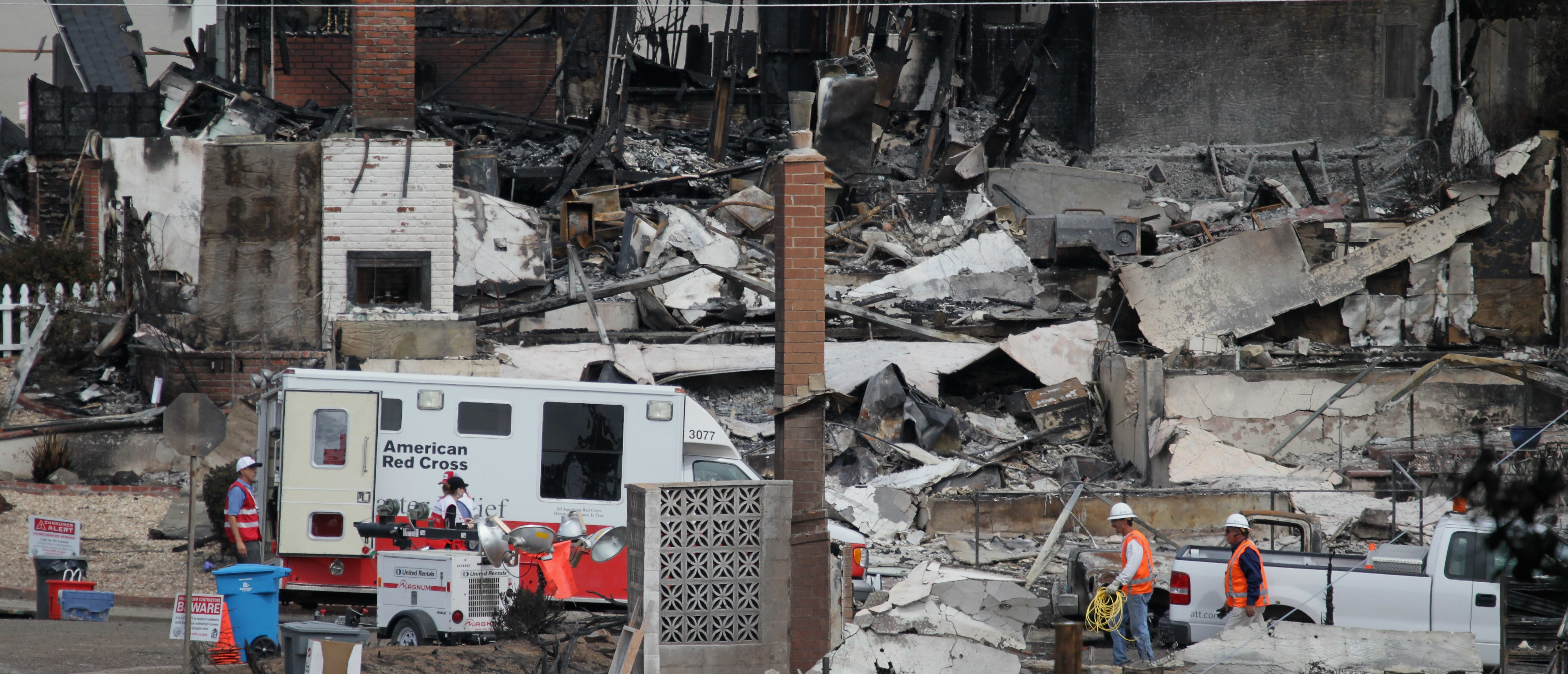 SAN BRUNO, CA - SEPTEMBER 13: A Red Cross truck sits near the epicenter of a deadly gas main explosion September 13, 2010 in San Bruno, California. State regulators have ordered Pacific Gas & Electric to inspect all of their gas lines following a deadly blast that destroyed thirty eight homes, severely damaged dozens more and killed at least four people in a San Bruno, California neighborhood near San Francisco International Airport on Thursday evening. (Photo by Justin Sullivan/Getty Images)