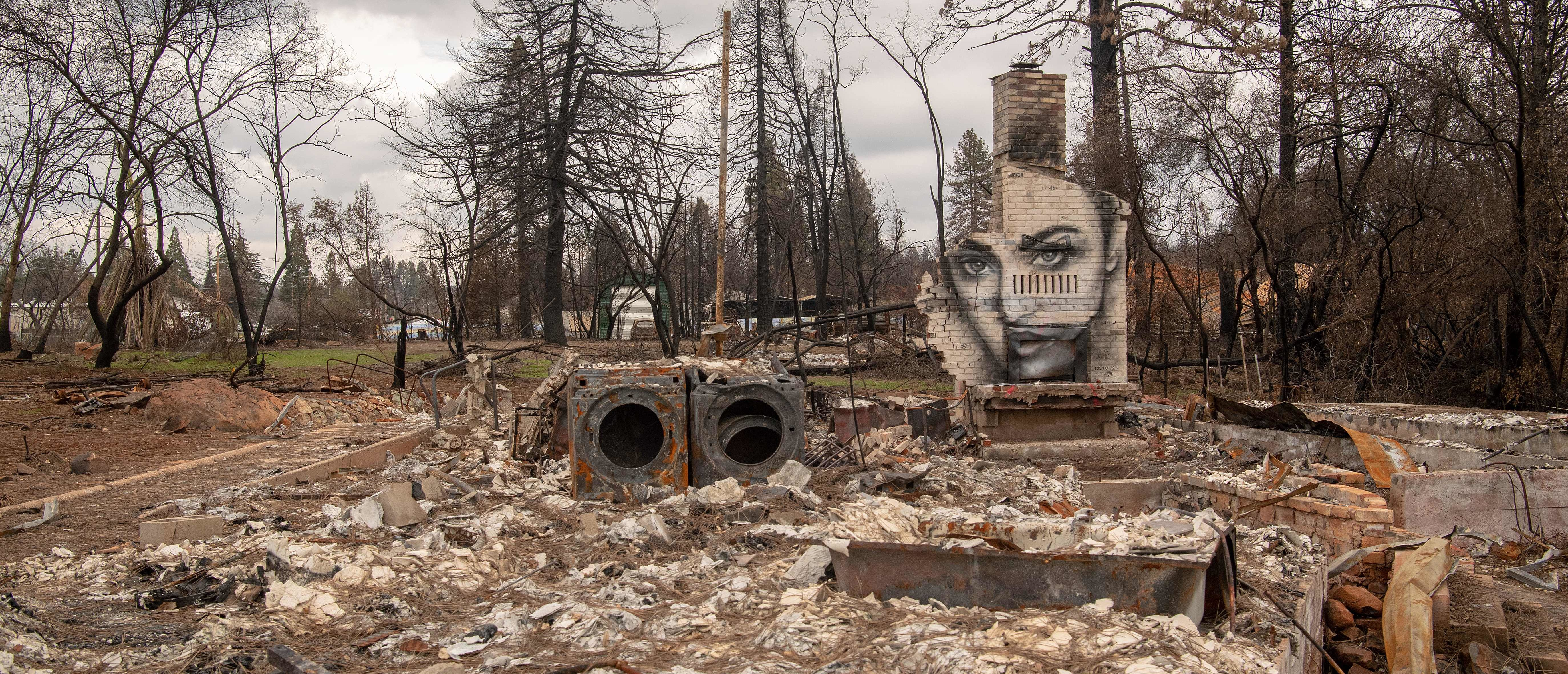 A mural painted by Shane Grammar is seen on a chimney that remains at a property burned by the Camp fire in Paradise, California on February 01, 2019. - California utility PG&E, facing billions of dollars in potential liabilities over its role in a series of deadly wildfires, filed for bankruptcy protection January 29, 2019. (Photo by Josh Edelson / AFP) (Photo credit should read JOSH EDELSON/AFP via Getty Images)