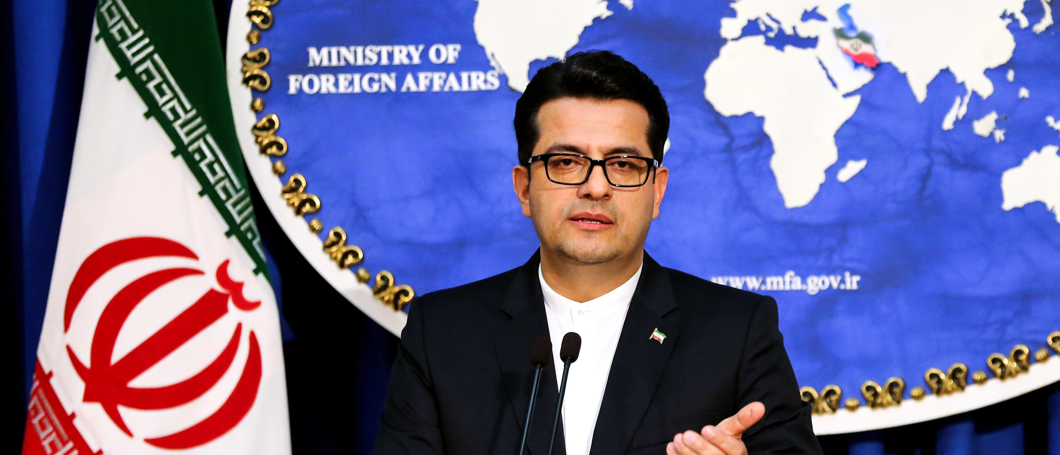 Abbas Mousavi, spokesman for Iran's Foreign Ministry, gives a press conference in the capital Tehran on May 28, 2019. (Photo by ATTA KENARE / AFP) (Photo by ATTA KENARE/AFP via Getty Images)