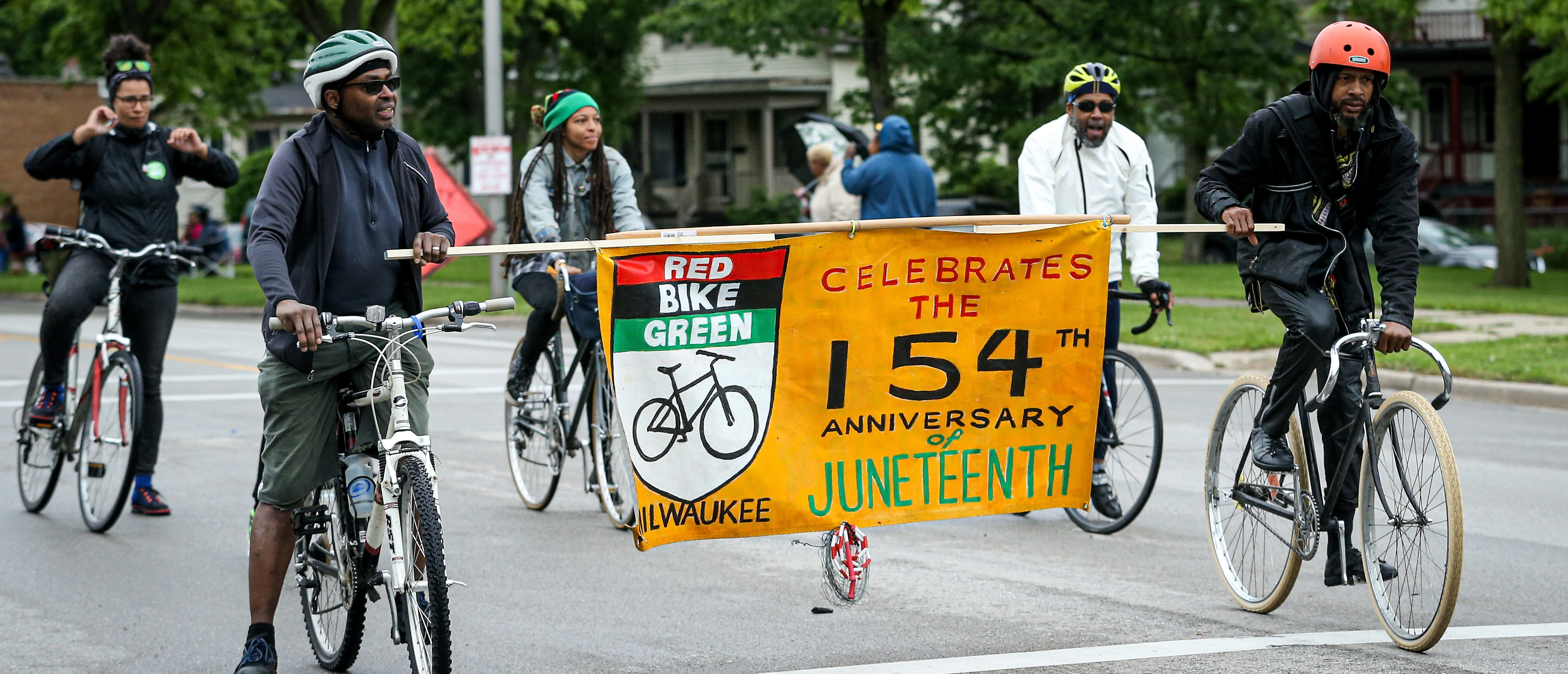 MILWAUKEE, WISCONSIN - JUNE 19: Members of the parade perform during the 48th Annual Juneteenth Day Festival on June 19, 2019 in Milwaukee, Wisconsin. (Photo by Dylan Buell/Getty Images for VIBE)