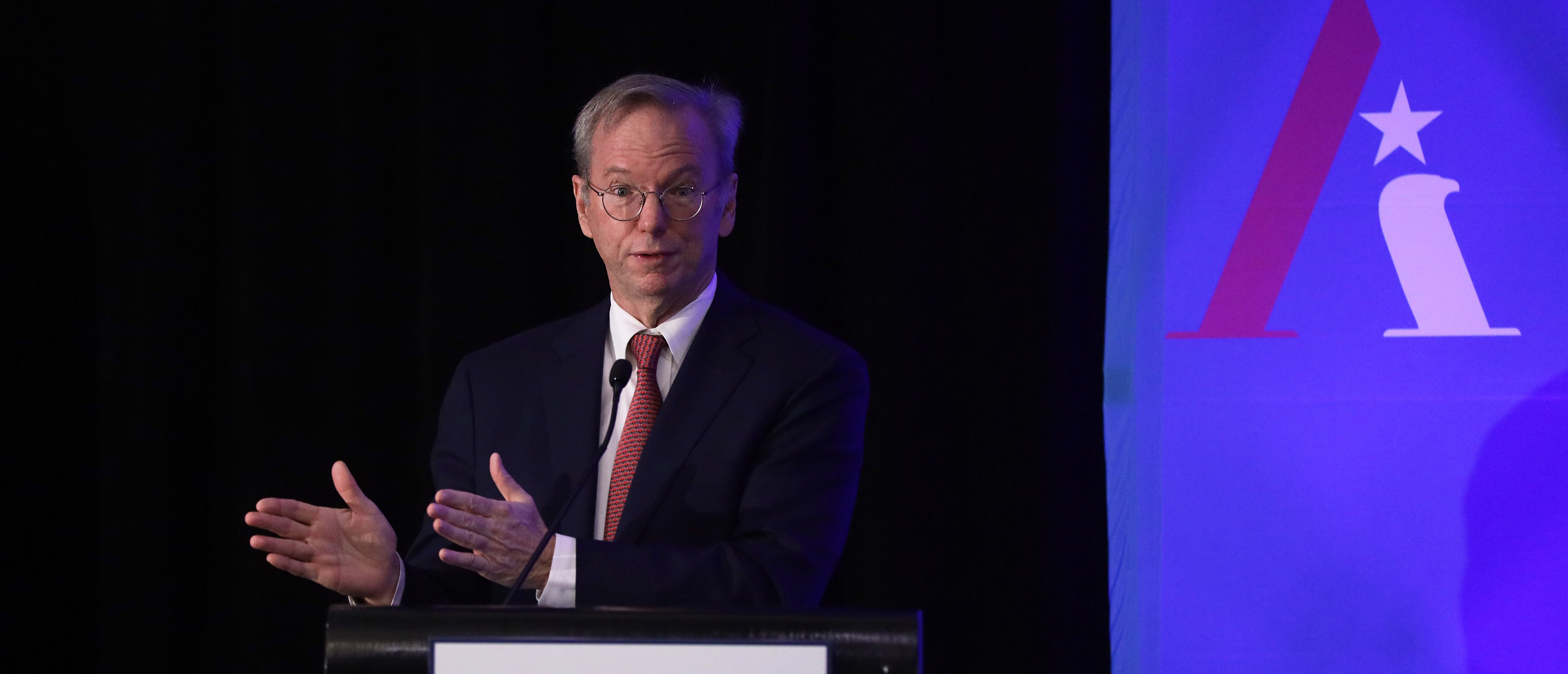 "WASHINGTON, DC - NOVEMBER 05: Executive Chairman of Alphabet Inc., Google's parent company, Eric Schmidt speaks during a National Security Commission on Artificial Intelligence (NSCAI) conference November 5, 2019 in Washington, DC. The National Security Commission on Artificial Intelligence held a conference on ""Strength Through Innovation: The Future of A.I. and U.S. National Security."" (Photo by Alex Wong/Getty Images)"