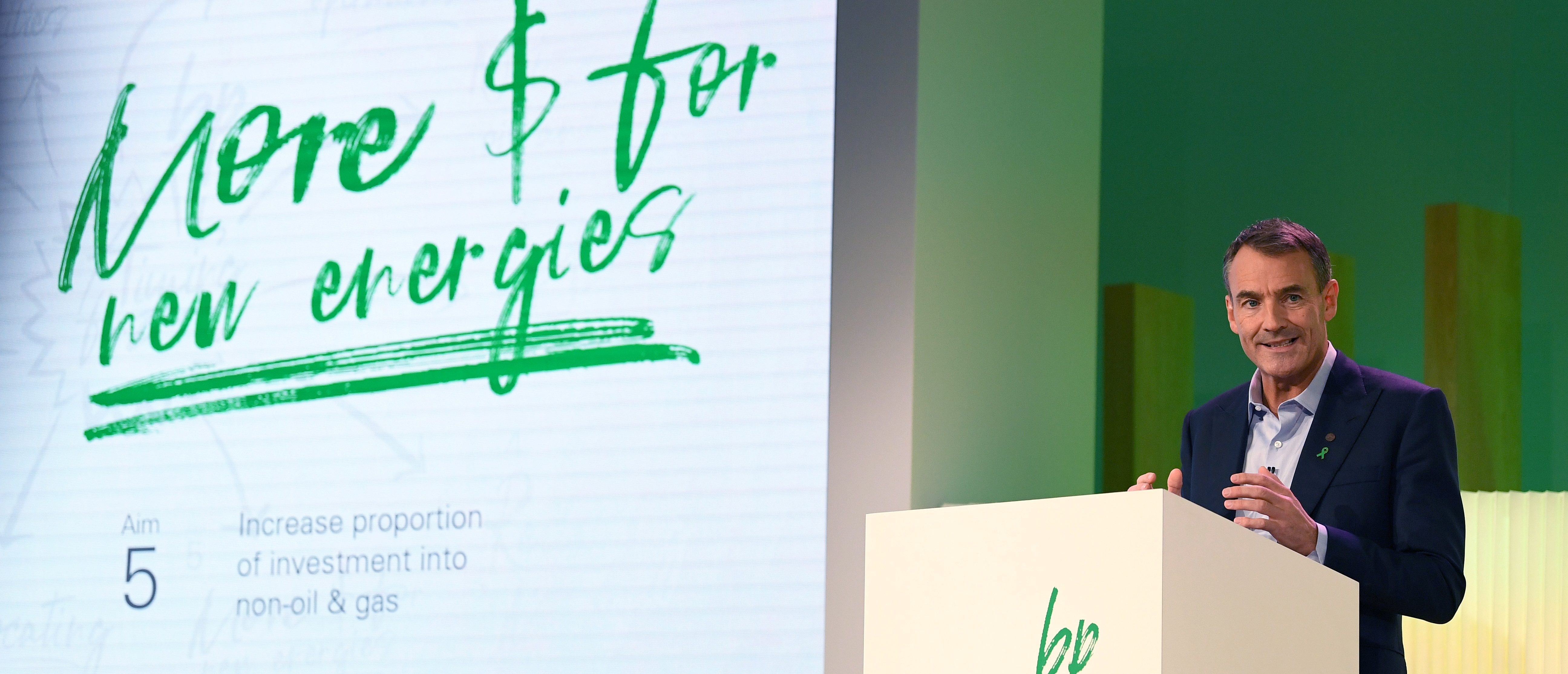 """BP CEO Bernard Looney speaks during an event in London on February 12, 2020, where he declared the company's intentions to achieve """"net zero"""" carbon emissions by 2050. - British energy giant BP, under the leadership of new chief executive Bernard Looney, declared Wednesday its aim to achieve """"net zero"""" carbon emissions by 2050, although it was vague on how it planned to hit the target. """"BP's new ambition to be a net zero company by 2050 or sooner covers the greenhouse gas emissions from its operations worldwide... and the carbon in the oil and gas that it produces,"""" said a statement ahead of a speech by Looney on plans to """"fundamentally transform its whole organisation"""". (Photo by DANIEL LEAL-OLIVAS / AFP) (Photo by DANIEL LEAL-OLIVAS/AFP via Getty Images)"""