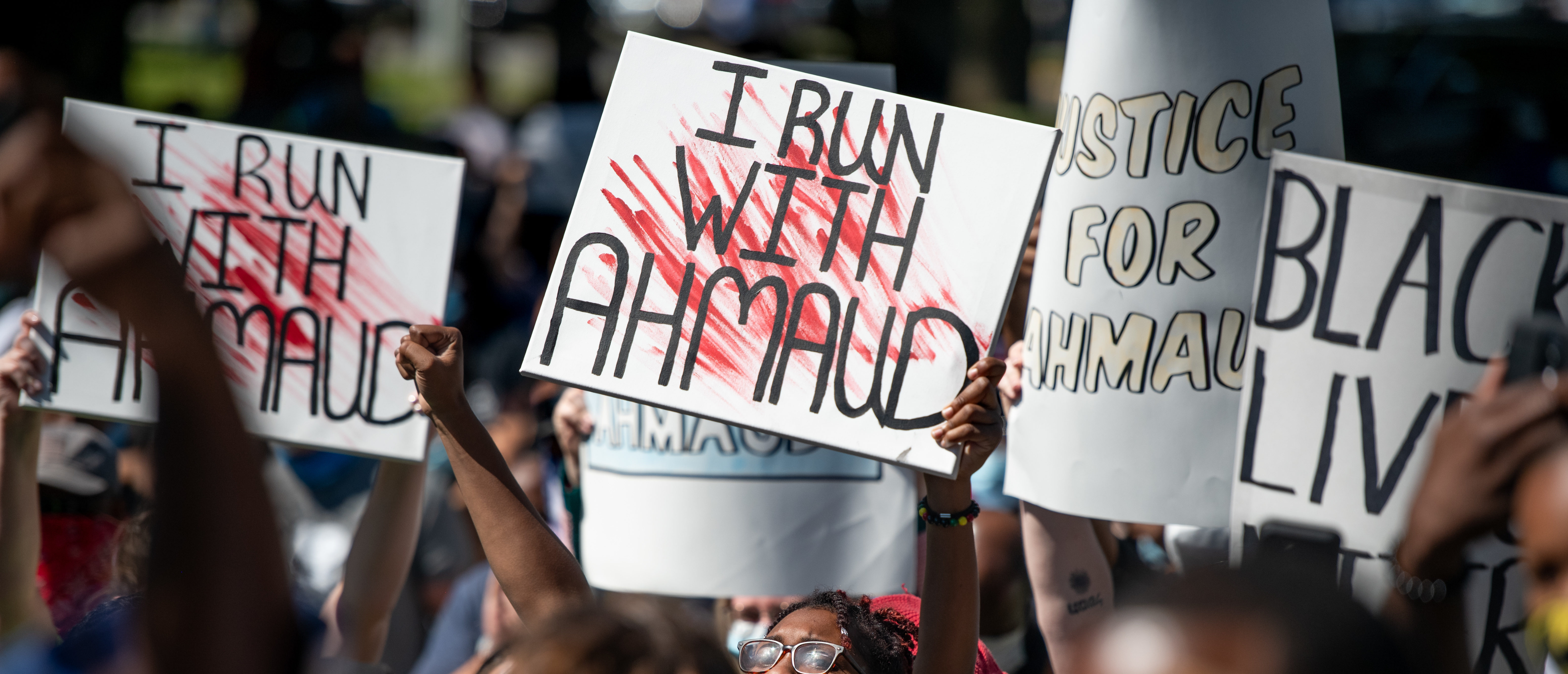 BRUNSWICK, GA - MAY 08: Demonstrators protest the shooting death of Ahmaud Arbery at the Glynn County Courthouse on May 8, 2020 in Brunswick, Georgia. Gregory McMichael and Travis McMichael were arrested the previous night and charged with murder. (Photo by Sean Rayford/Getty Images)