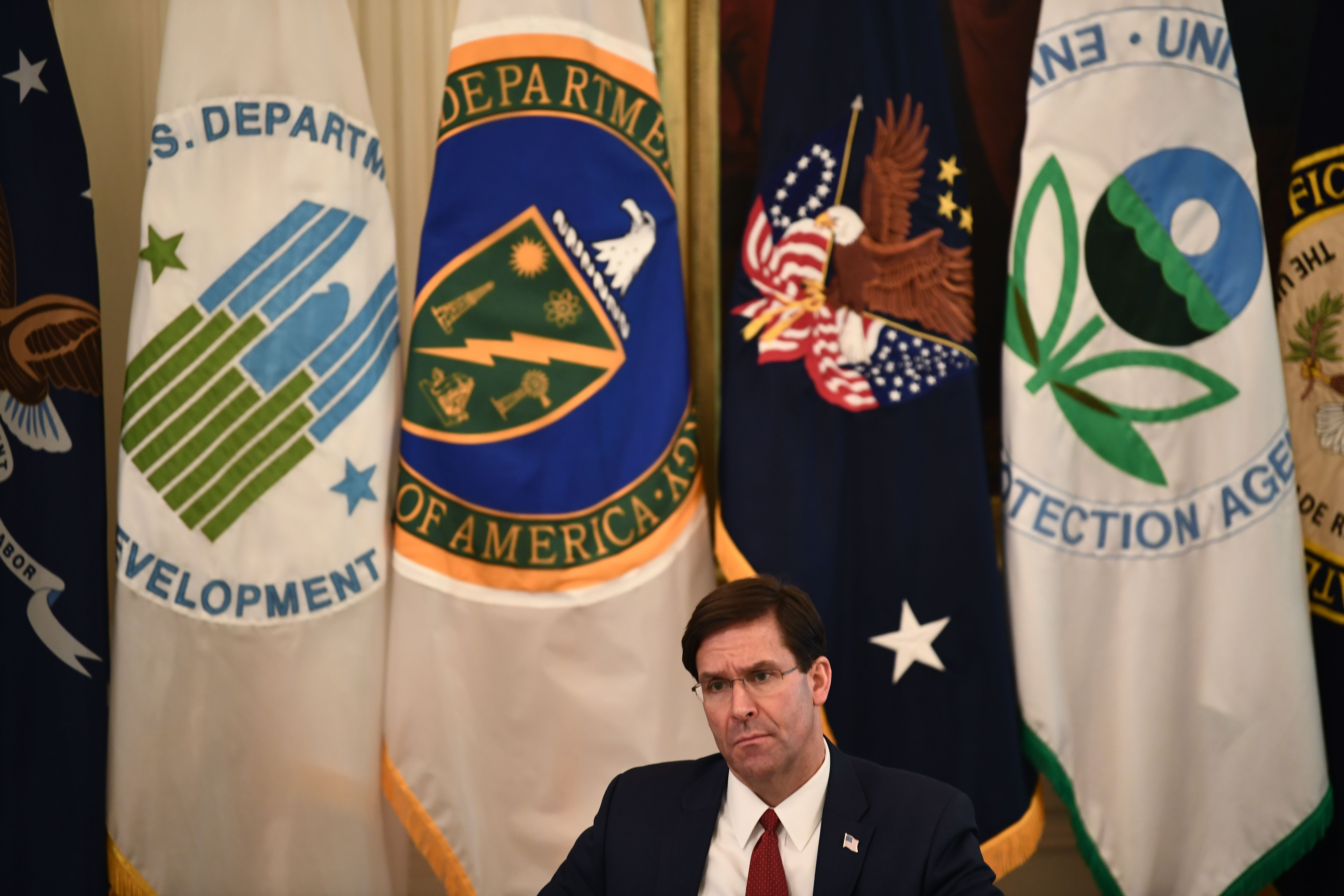 US Defense Secretary Mark Esper attends a meeting with President Donald Trump and his cabinet on May 19, 2020 in the Cabinet Room of the White House in Washington, DC. (Photo by BRENDAN SMIALOWSKI/AFP via Getty Images)
