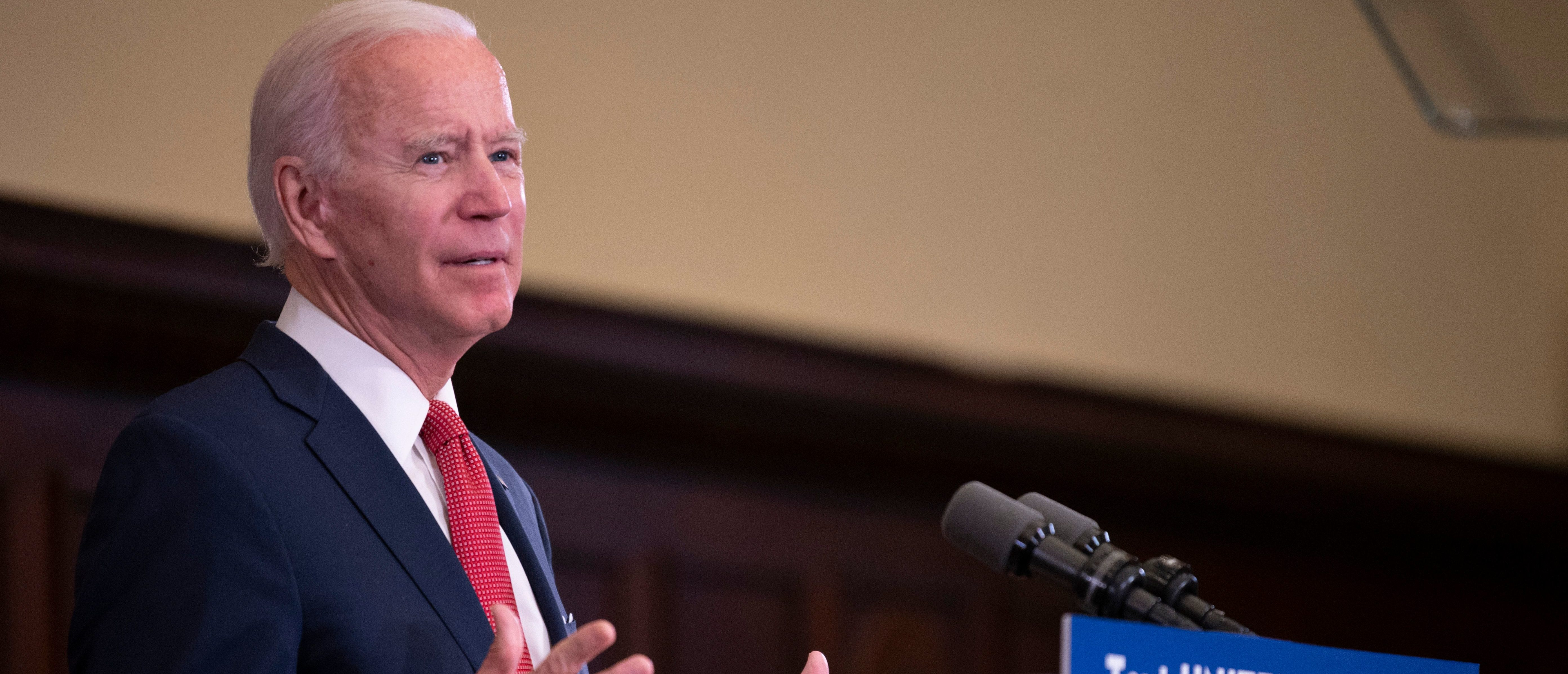 """Former vice president and Democratic presidential candidate Joe Biden speaks about the unrest across the country from Philadelphia City Hall on June 2, 2020, in Philadelphia, Pennsylvania, contrasting his leadership style with that of US President Donald Trump, and calling George Floyd's death """"a wake-up call for our nation."""" (Photo by JIM WATSON/AFP via Getty Images)"""