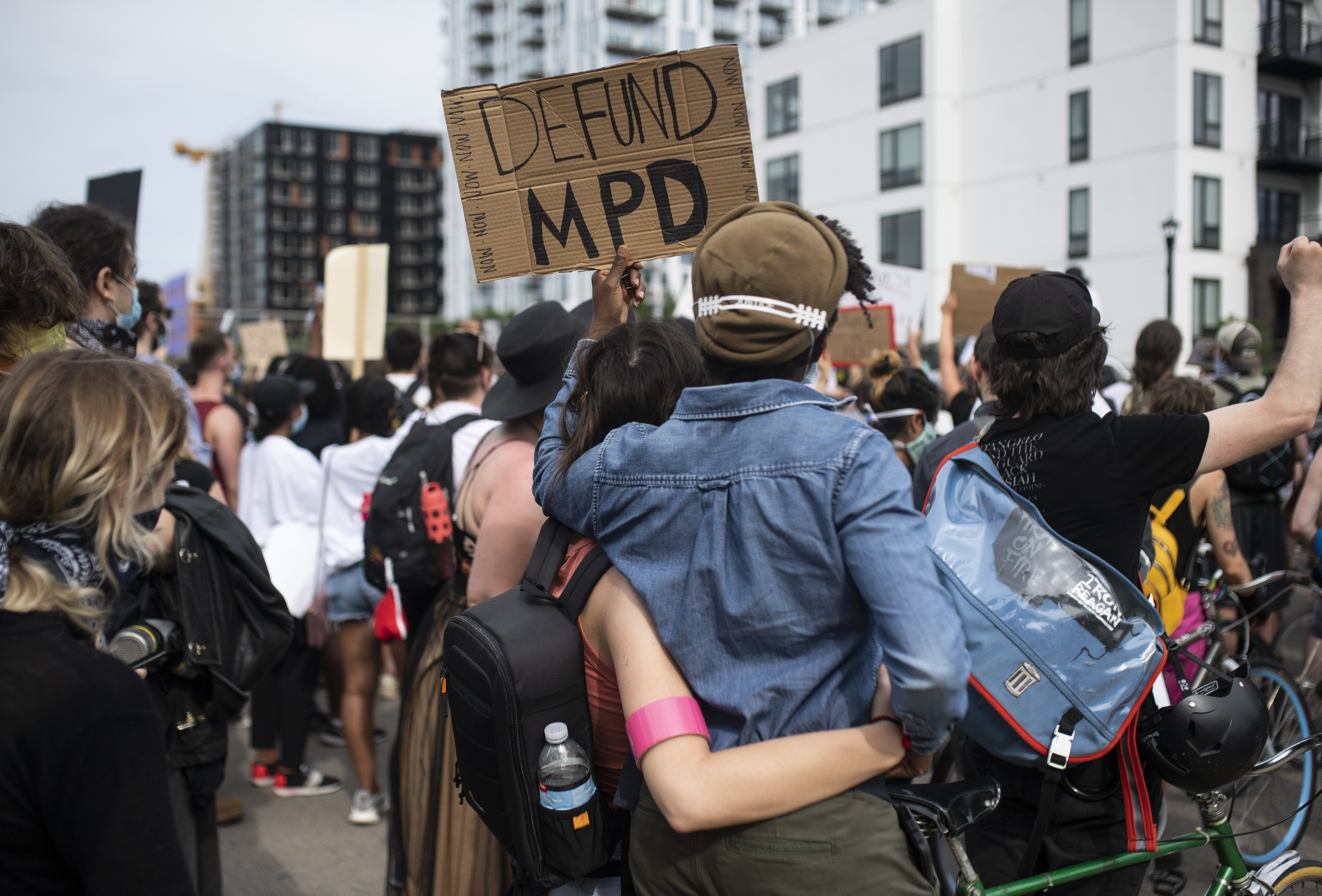 MINNEAPOLIS, MN - JUNE 6: Demonstrators calling to defund the Minneapolis Police Department march on University Avenue on June 6, 2020 in Minneapolis, Minnesota. The march, organized by the Black Visions Collective, commemorated the life of George Floyd who was killed by members of the MPD on May 25. (Photo by Stephen Maturen/Getty Images)