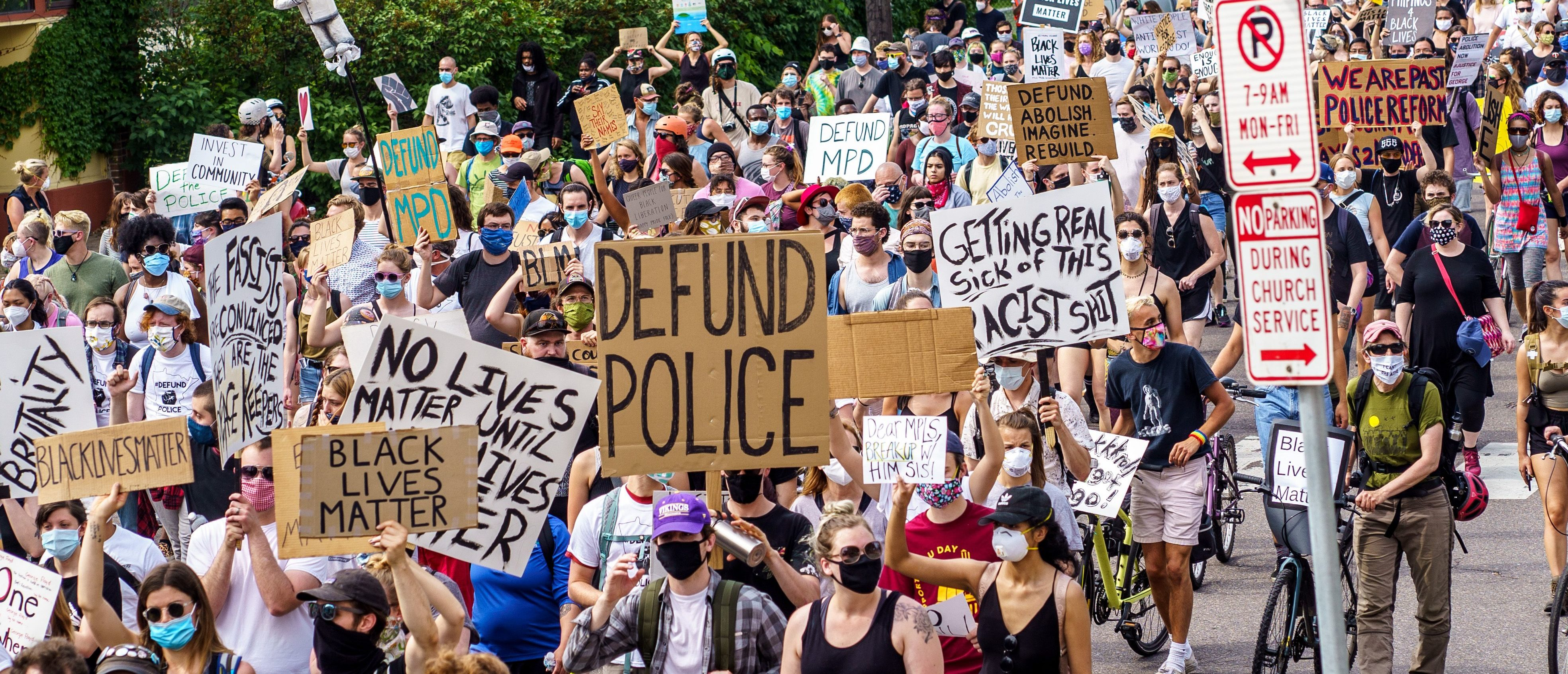Demonstrators march against racism and police brutality and to defund the Minneapolis Police Department on June 6, 2020 in Minneapolis, Minnesota. - Demonstrations are being held across the US following the death of George Floyd on May 25, 2020, while being arrested in Minneapolis, Minnesota. (Photo by kerem yucel / AFP) (Photo by KEREM YUCEL/AFP via Getty Images)