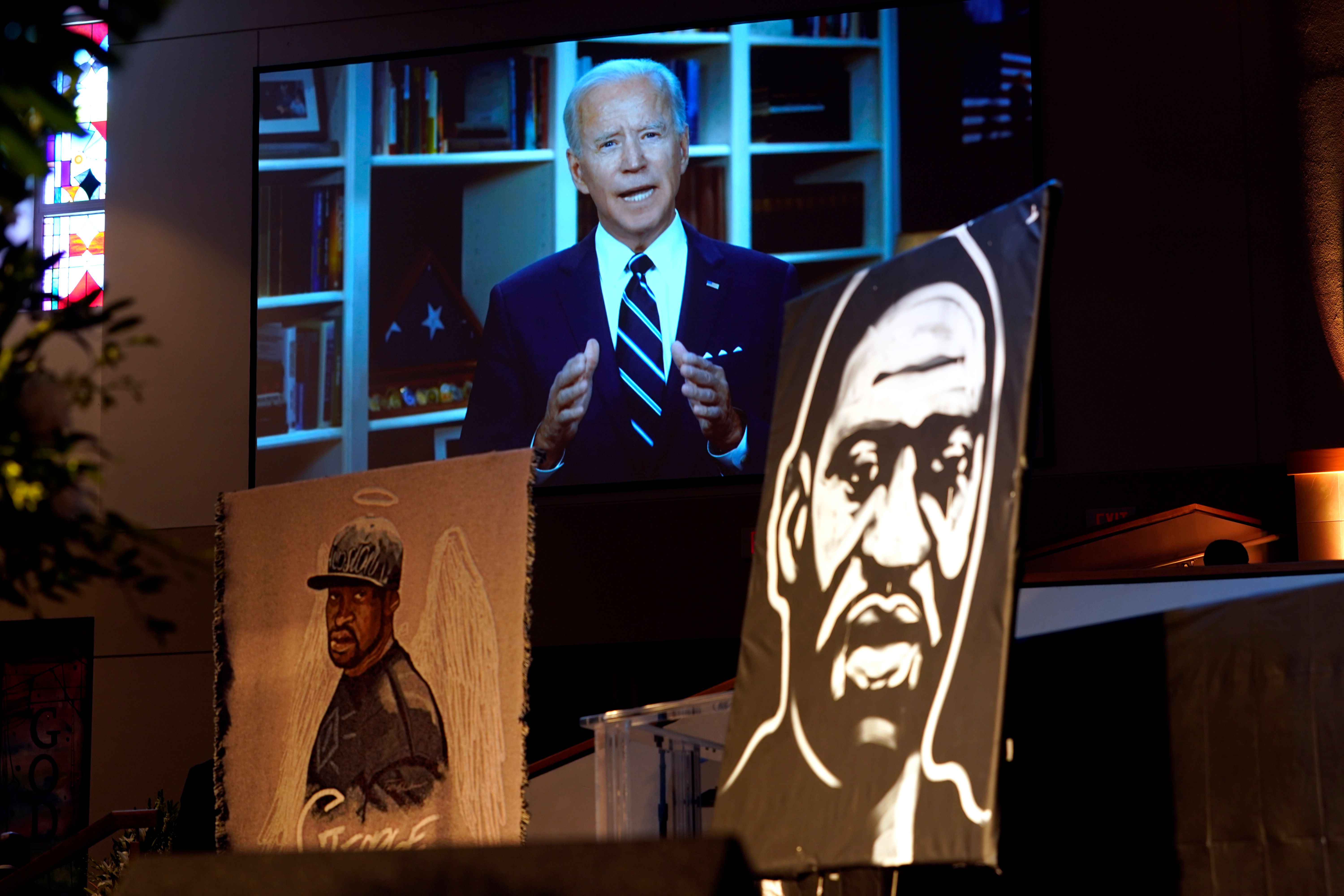 Vice President Joe Biden speaks via video link as family and guests attend the funeral service for George Floyd at The Fountain of Praise Church on June 9, 2020, in Houston. (Photo: David J. Phillip/Pool/AFP via Getty Images)