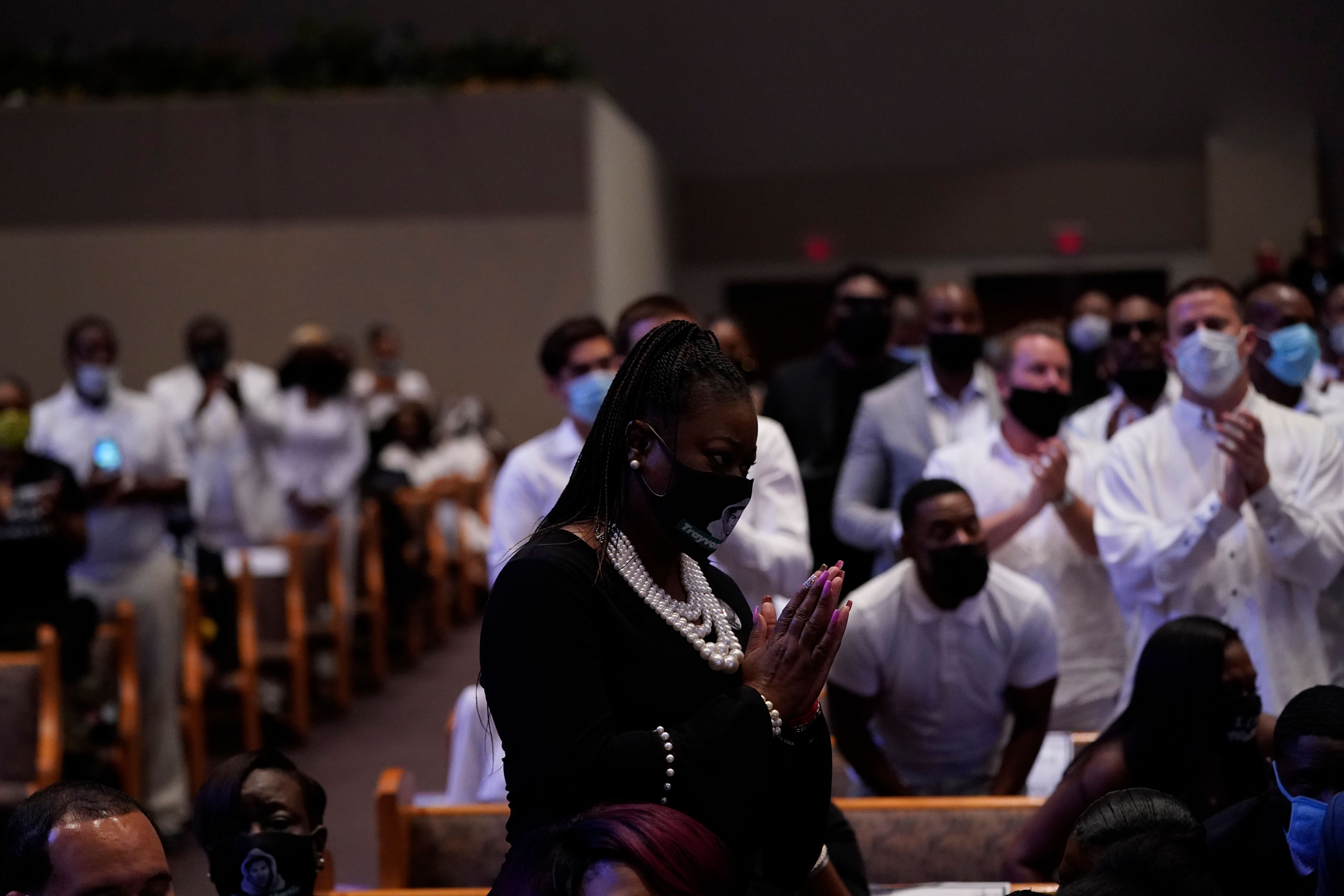 Sybrina Fulton, the mother of Trayvon Martin, stands as she is recognized during the funeral service for George Floyd at The Fountain of Praise church June 9, 2020, in Houston. -(Photo by DAVID J. PHILLIP/POOL/AFP via Getty Images)