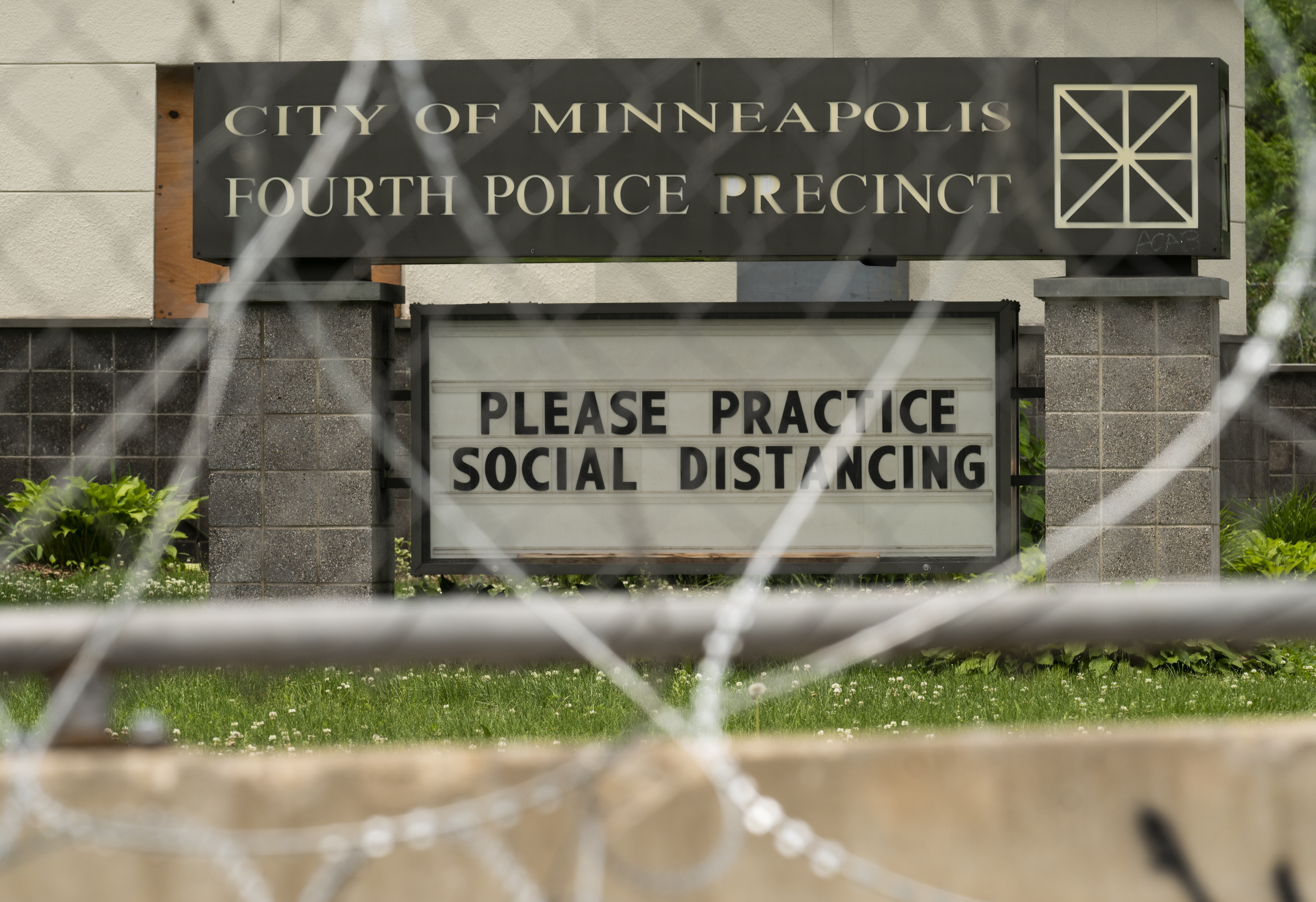 A general view outside the Fourth Precinct Police Station on June 9, 2020 in Minneapolis, Minnesota. (Photo by Stephen Maturen/Getty Images)