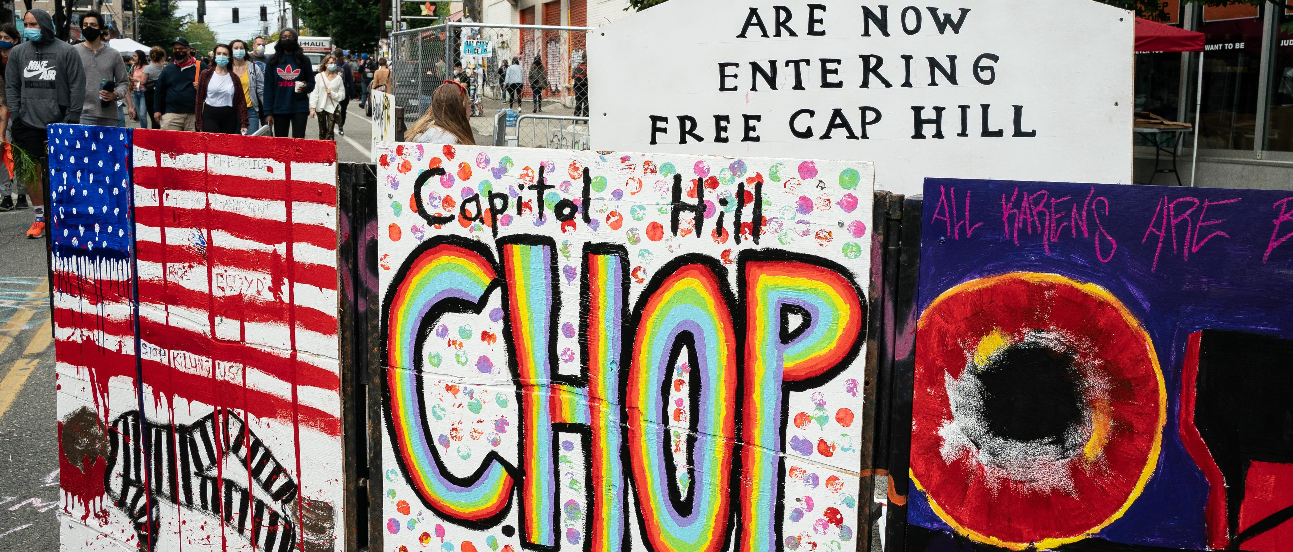 "A signs reads ""Capitol Hill Occupied Protest"" in area that has been referred to by protesters by that name as well as ""Capitol Hill Organized Protest, or CHOP, on June 14, 2020 in Seattle, Washington. (David Ryder/Getty Images)"