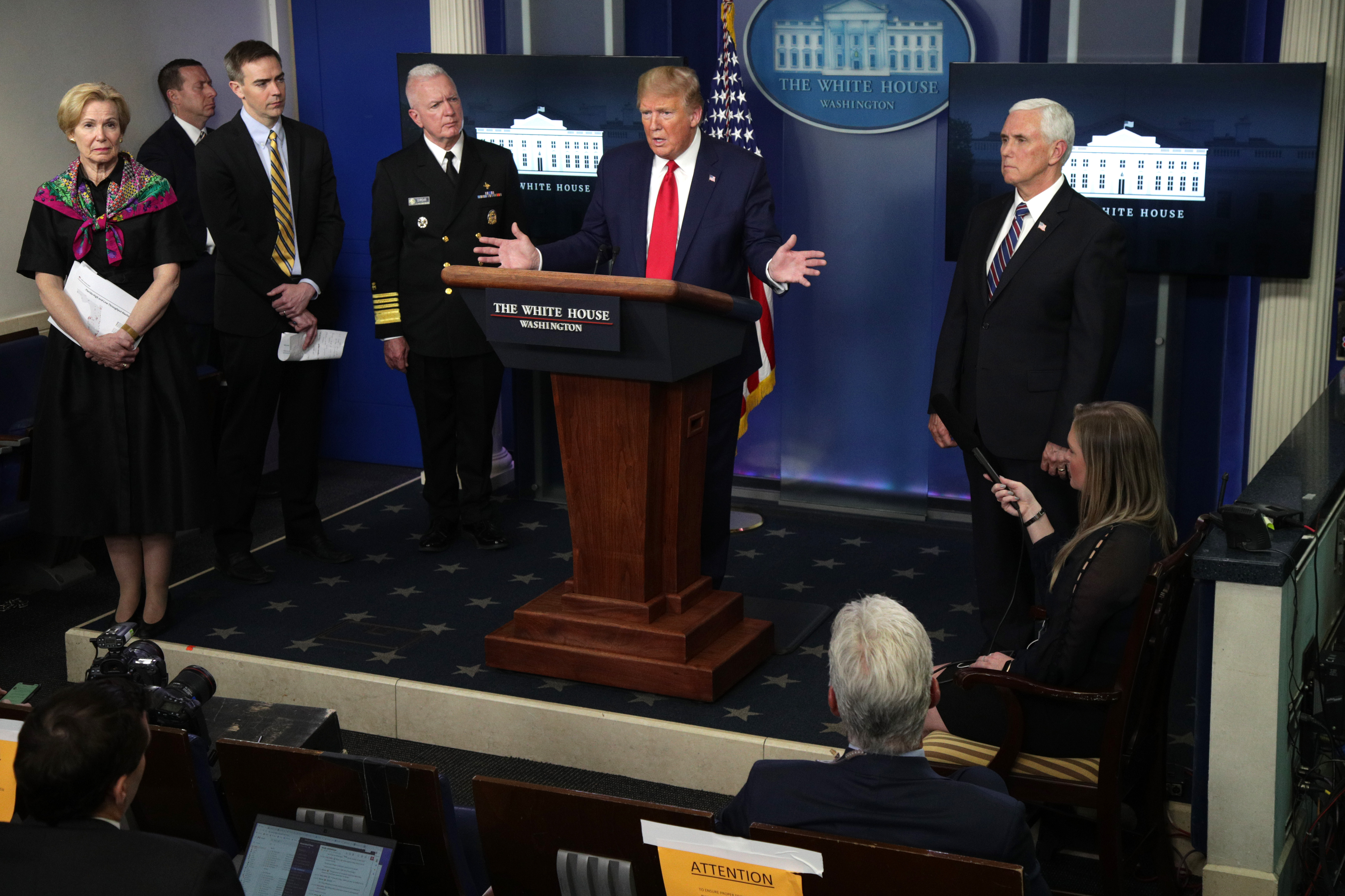WASHINGTON, DC - APRIL 20: U.S. President Donald Trump speaks as White House coronavirus response coordinator Deborah Birx, Director of the Center for Medicare and Medicaid Innovation at CMS Brad Smith, Assistant Secretary of Health Adm. Brett Giroir and Vice President Mike Pence look on during the daily coronavirus briefing at the White House April 20, 2020 in Washington, DC. Oil prices fell below zero today due to a collapse in energy demand and near full capacity of storage tanks in the U.S., brought on by the COVID-19 pandemic lockdown. (Photo by Alex Wong/Getty Images)