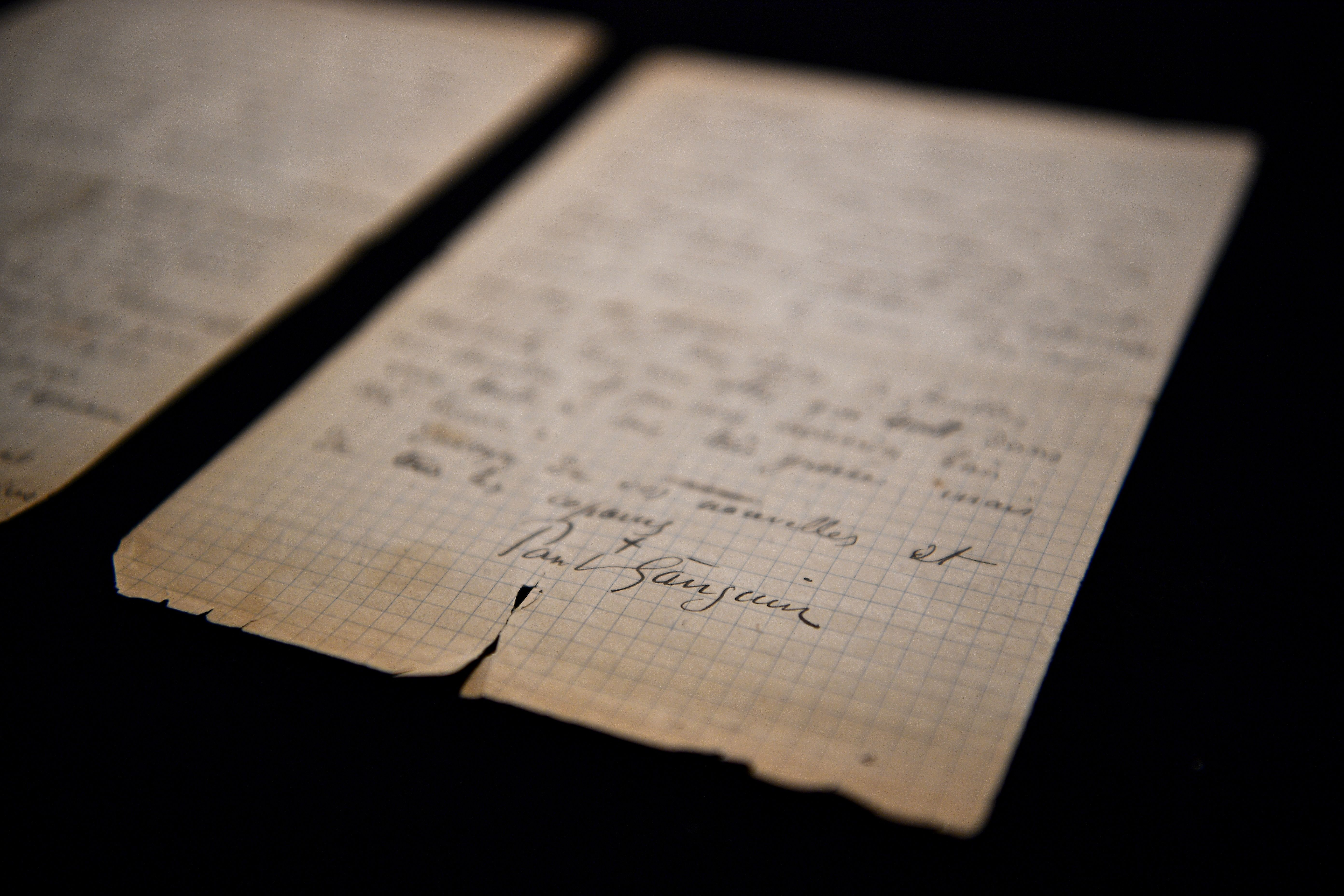 This picture shows a letter co-written by Dutch painter Vincent Van Gogh and French painter Paul Gauguin on the eve of its auction sale at Drouot auction house in Paris on June 15, 2020. (Photo by CHRISTOPHE ARCHAMBAULT/AFP via Getty Images)