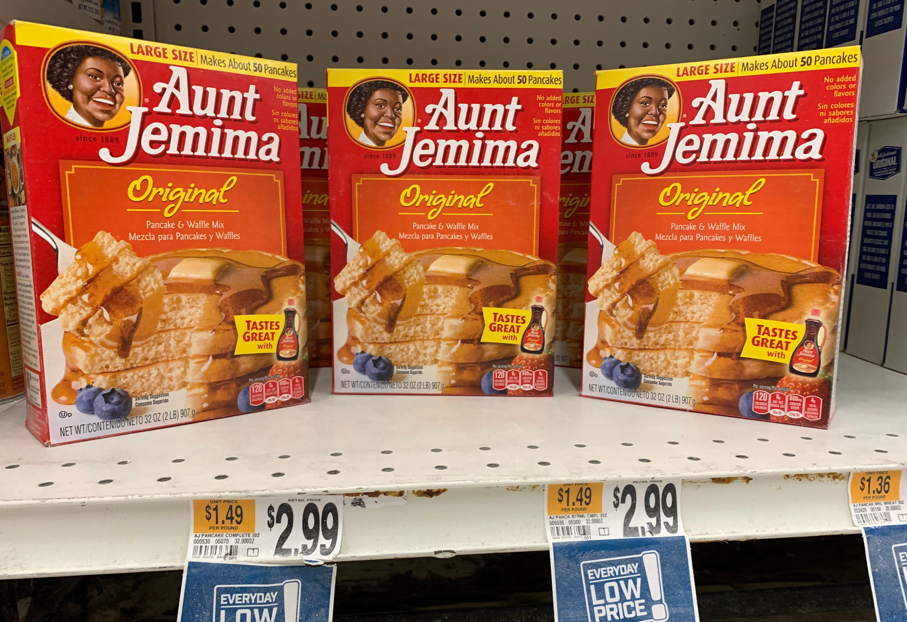 """Boxes of Aunt Jemima pancake mix are seen on a store shelf on June 17, 2020 in Washington,DC. - The Aunt Jemima brand of syrup and pancake mix will get a new name and image, Quaker Oats announced on June 17, 2020, saying that the company recognizes that """"Aunt Jemima's origins are based on a racial stereotype."""" (Photo by EVA HAMBACH/AFP via Getty Images)"""