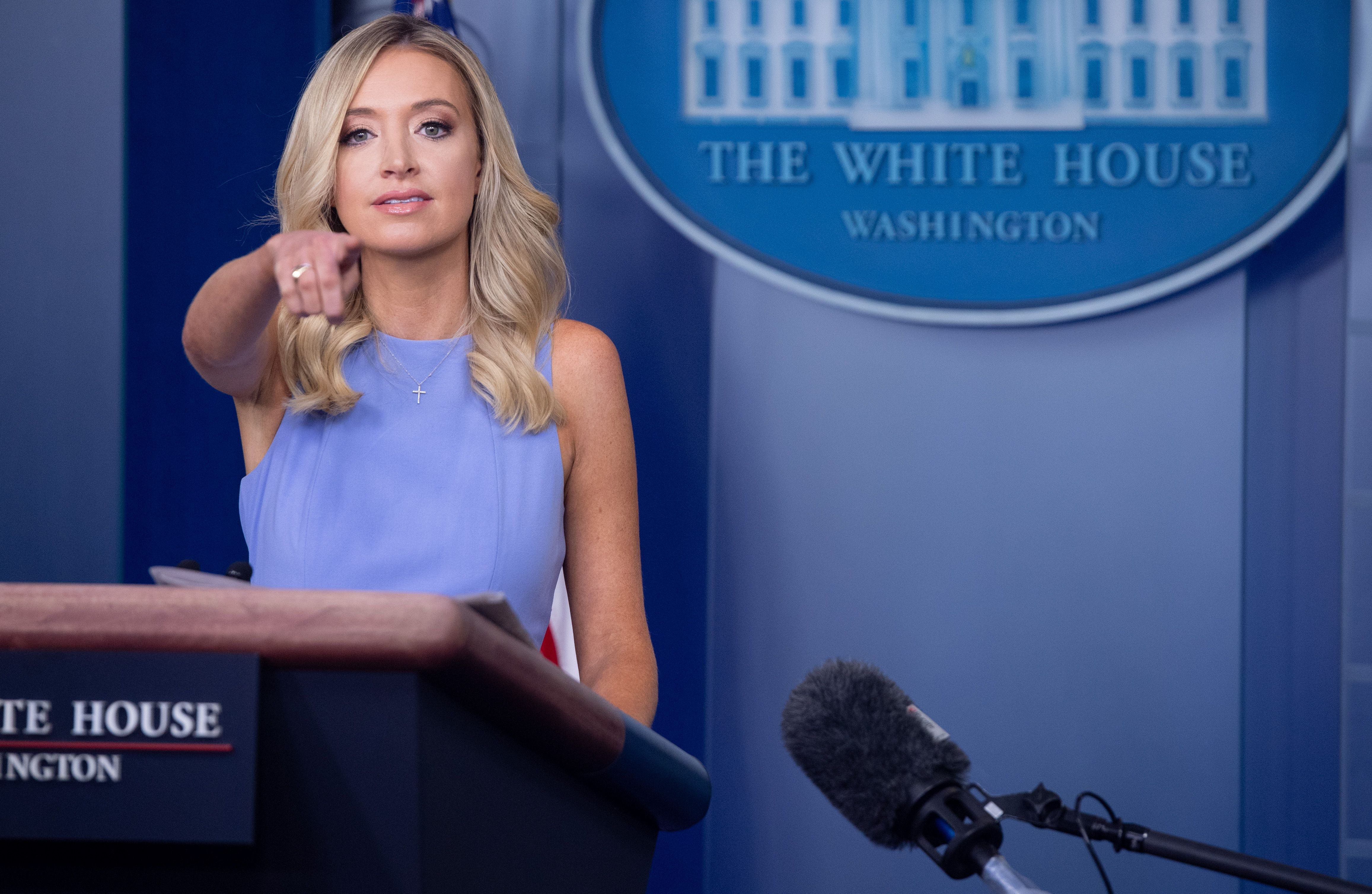 White House Press Secretary Kayleigh McEnany holds a press briefing at the White House in Washington, DC, June 17, 2020. (Photo by SAUL LOEB / AFP) (Photo by SAUL LOEB/AFP via Getty Images)
