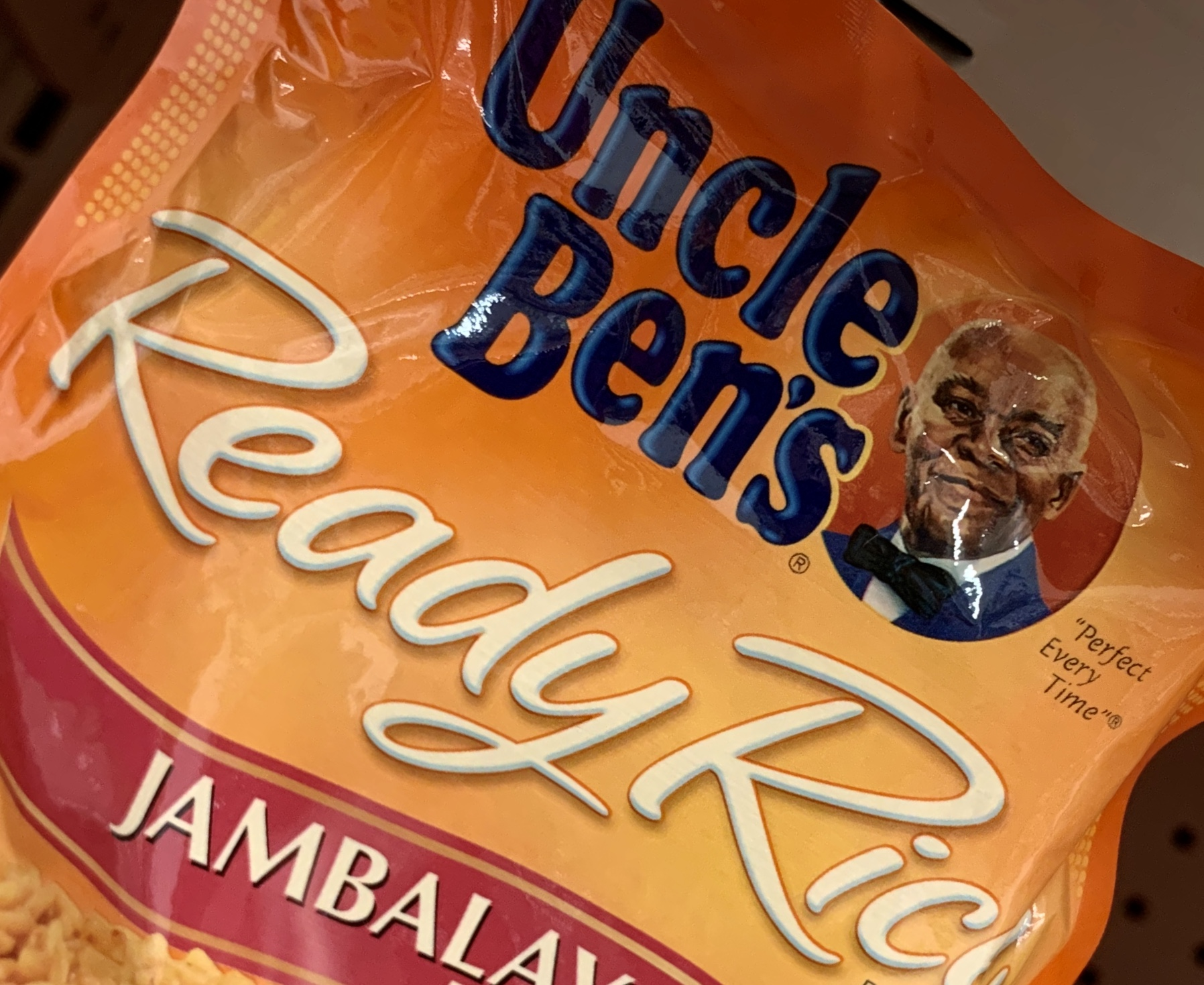 A bag of Uncle Ben's rice is seen on a store shelf on June 17, 2020 in Washington,DC. (Photo by EVA HAMBACH/AFP via Getty Images)