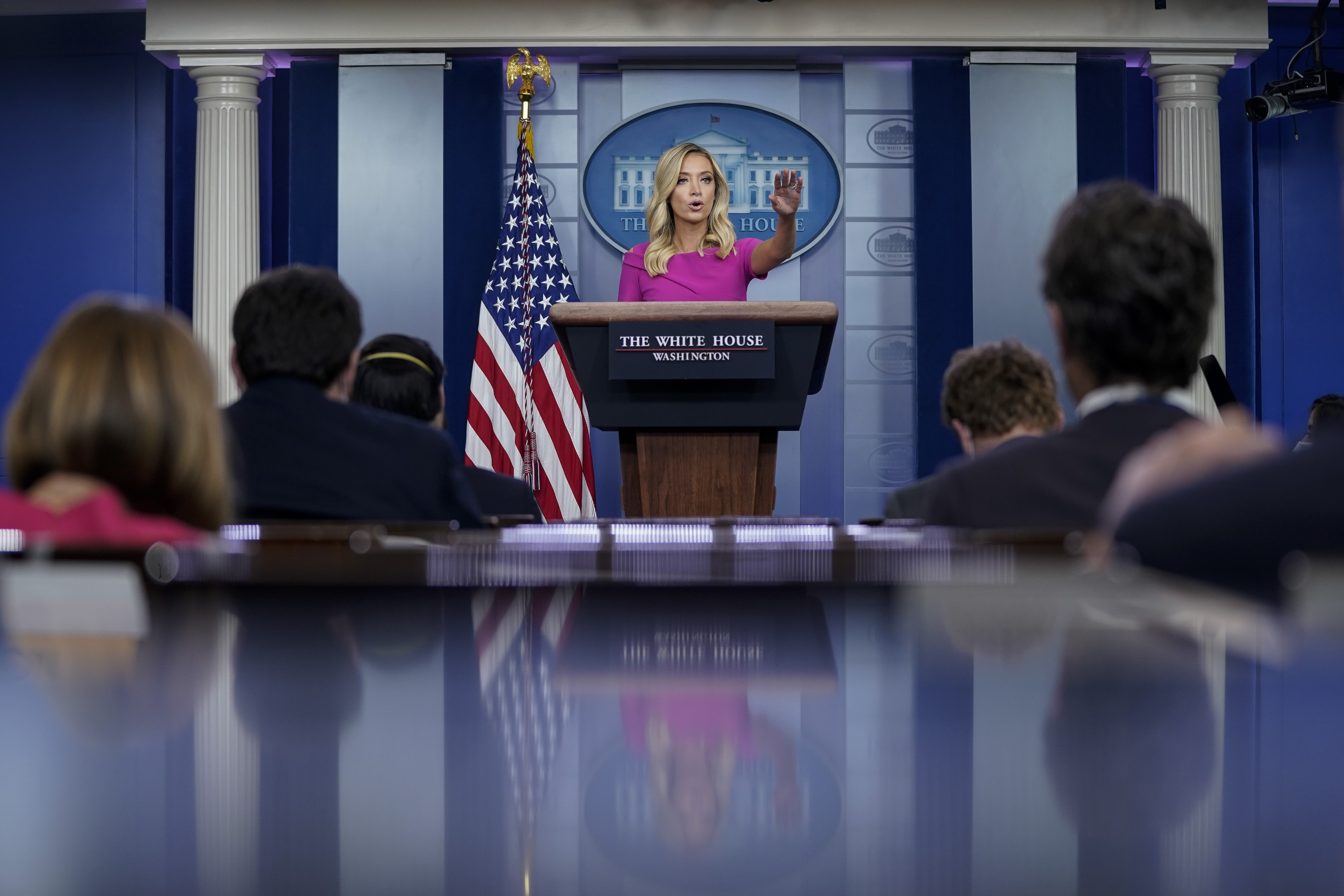 WASHINGTON, DC - JUNE 22: Press Secretary Kayleigh McEnany speaks during a press briefing at the White House on June 22, 2020 in Washington, DC. McEnany fielded questions ranging from President Trump's Saturday rally in Tulsa, the coronavirus pandemic and Venezuelan President Nicolas Maduro. (Photo by Drew Angerer/Getty Images)