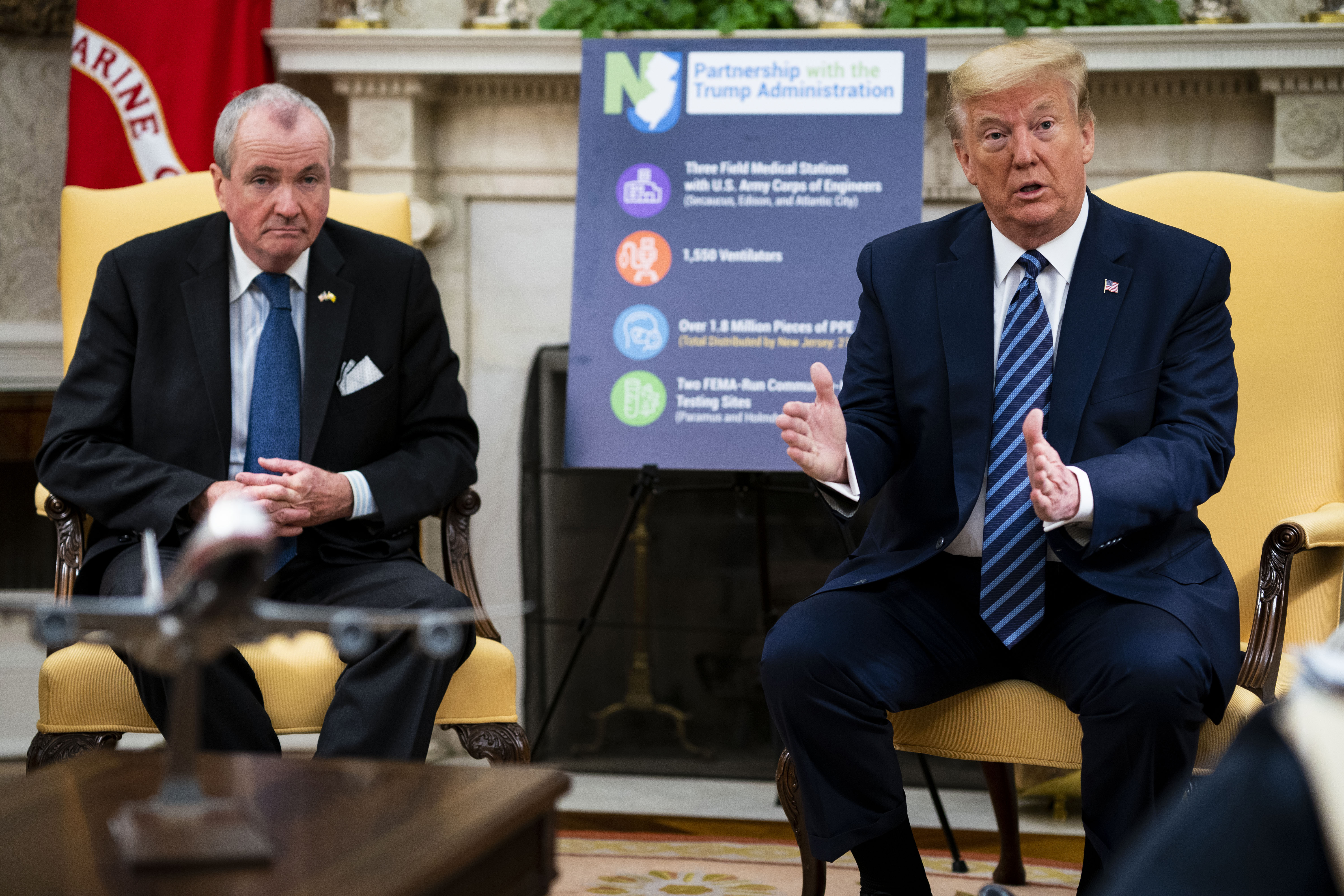 U.S. President Donald Trump meets with New Jersey Gov. Phil Murphy in the Oval Office of the White House April 30, 2020 in Washington, DC. (Photo: Doug Mills/The New York Times/Pool/Getty Images)