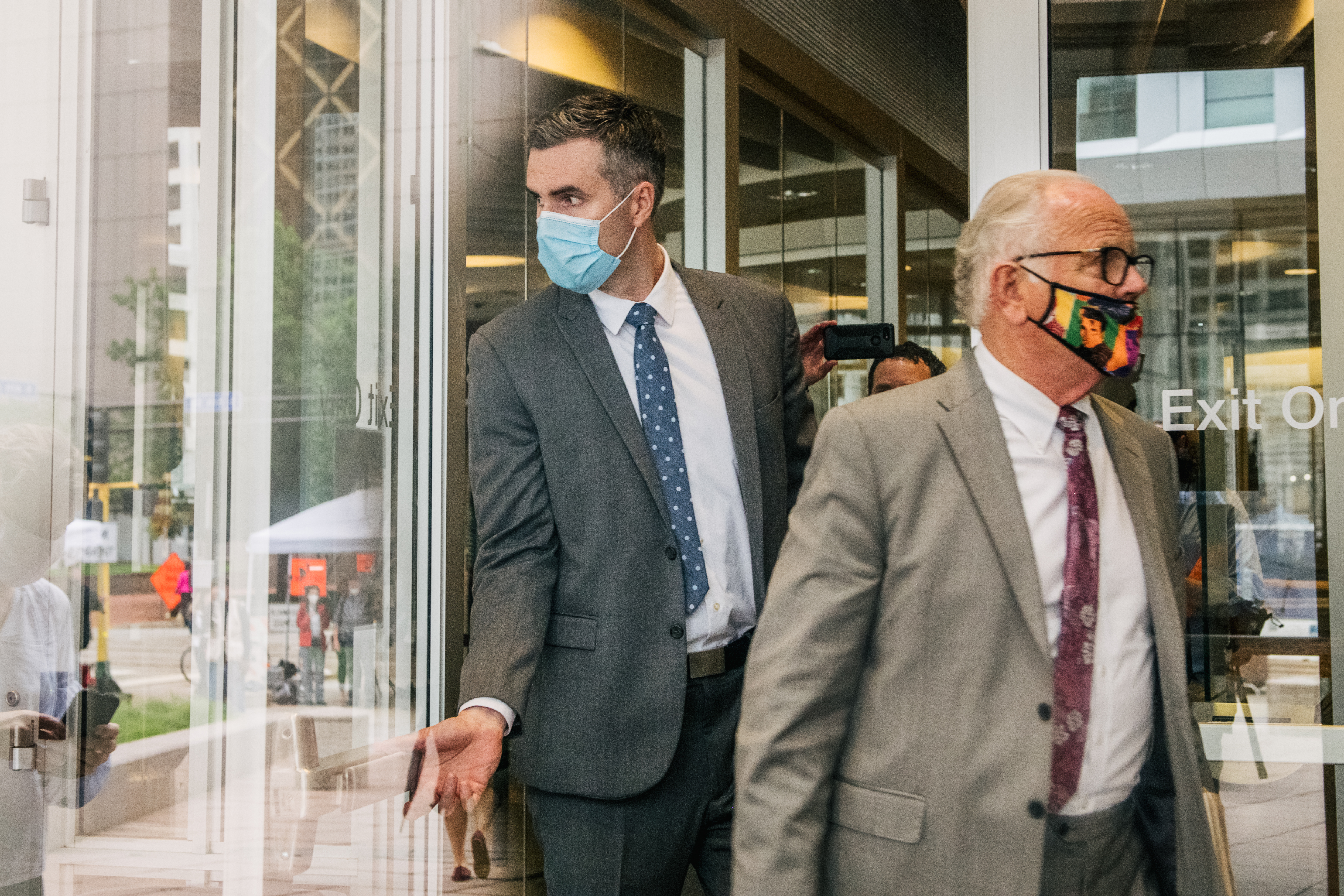 MINNEAPOLIS, MN - JUNE 29: Former Minneapolis Police officer Thomas Lane (L) and his attorney Earl Gray leave the Hennepin County Public Safety Facility after his second courthouse appearance on June 29, 2020 in Minneapolis, Minnesota. Lane is charged with aiding and abetting second-degree manslaughter in the death of George Floyd on May 25. (Photo by Brandon Bell/Getty Images)