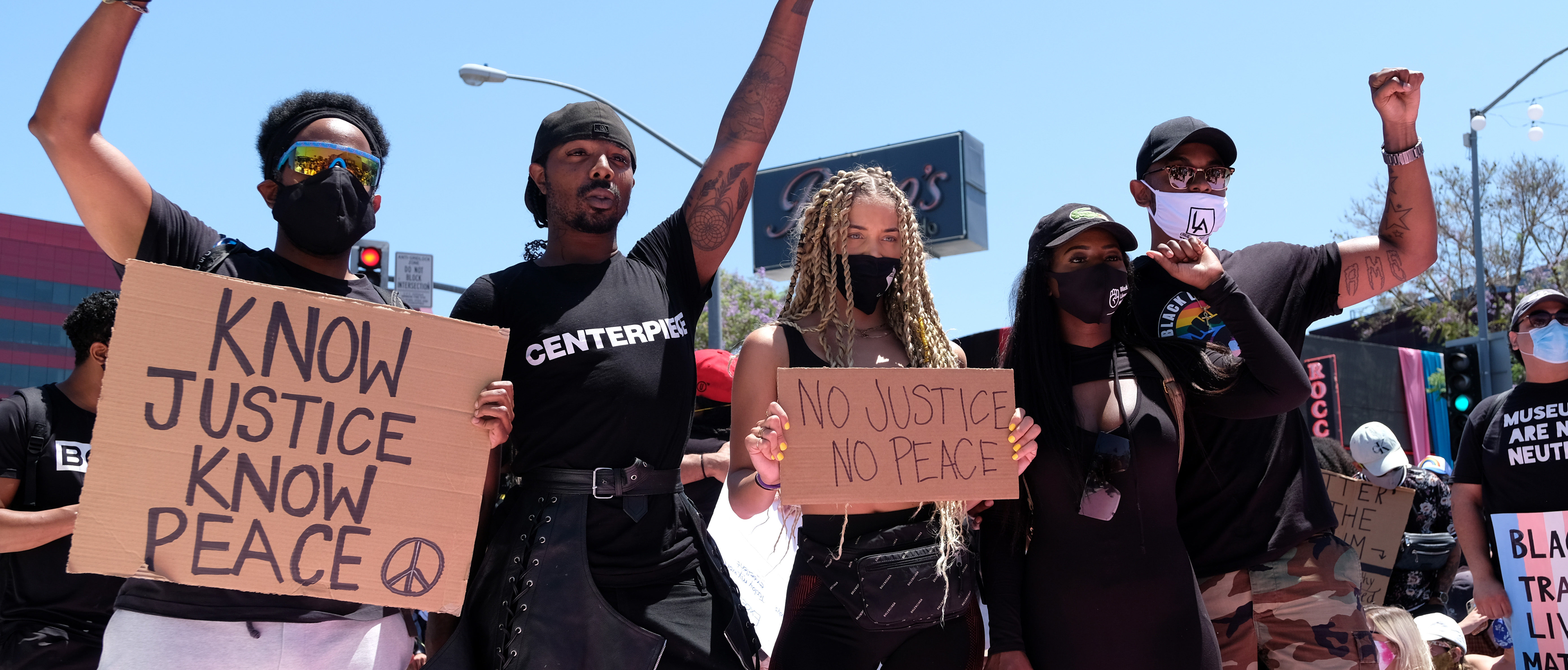 LOS ANGELES, CALIFORNIA - JUNE 14: Model Jasmine Sanders (C) attends the All Black Lives Matter Solidarity March on June 14, 2020 in Los Angeles, California.(Photo by Sarah Morris/Getty Images)