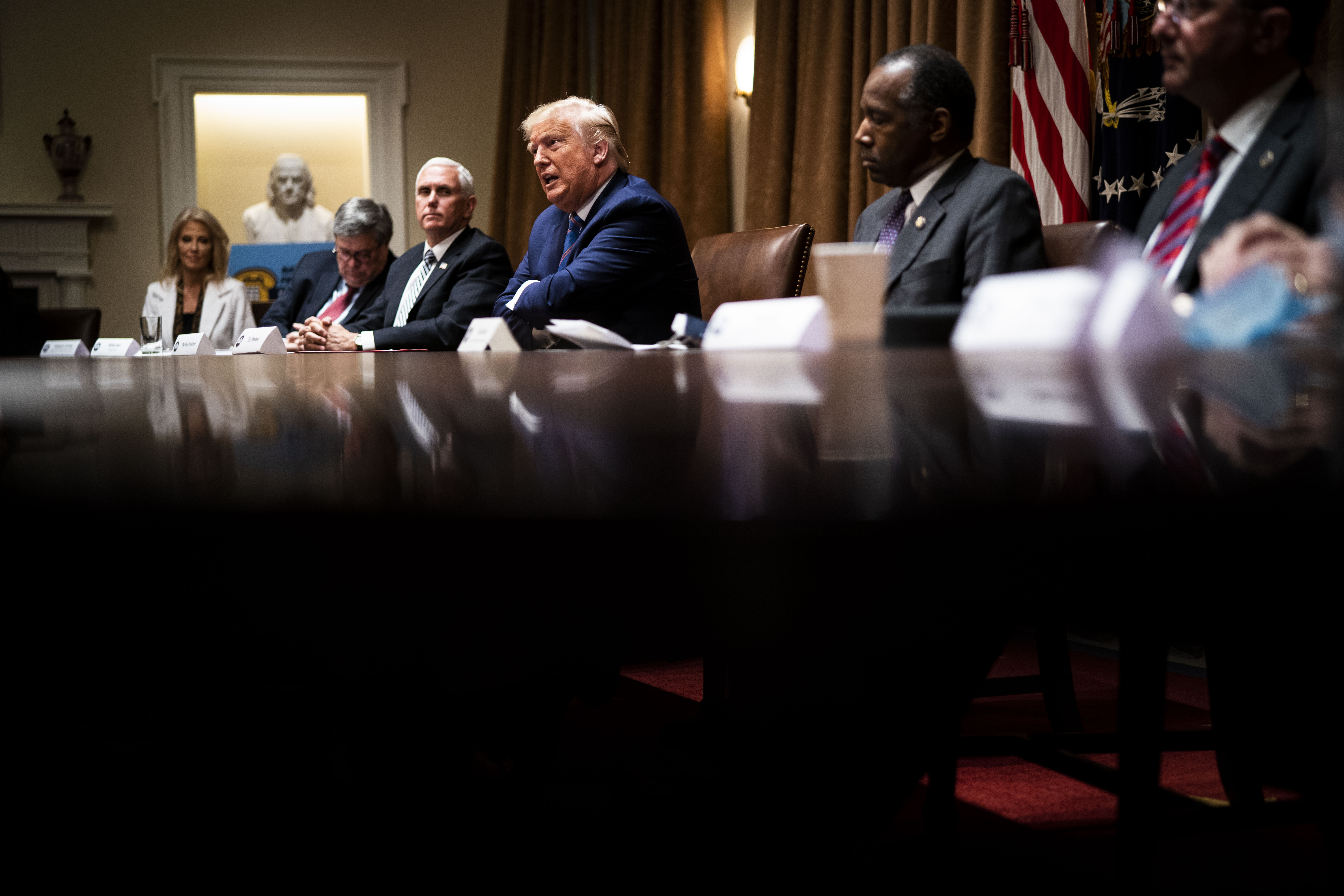 "WASHINGTON, DC - JUNE 15: U.S. President Donald Trump speaks during a roundtable on ""Fighting for America's Seniors"" at the Cabinet Room of the White House June 15, 2020 in Washington, DC. President Trump participated in the roundtable to discuss the administration's efforts to ""safeguard America's senior citizens"" from COVID-19. (Photo by Doug Mills-Pool/Getty Images)"