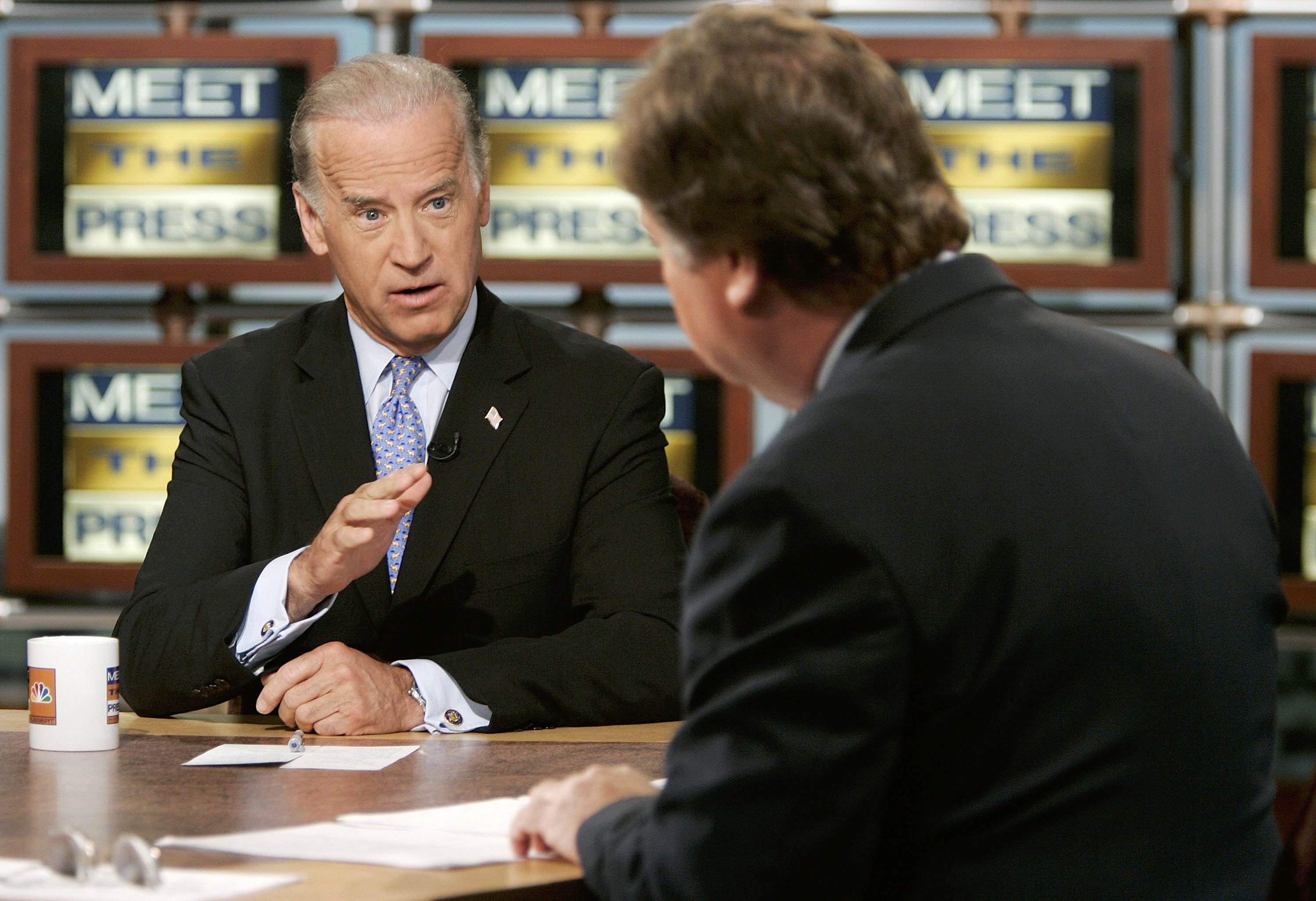 """Then U.S. Senator Joseph Biden speaks as he is interviewed by moderator Tim Russert during a taping of """"Meet the Press"""" at the NBC studios June 4, 2006 in Washington, DC. (Photo: Alex Wong/Getty Images for Meet the Press)"""