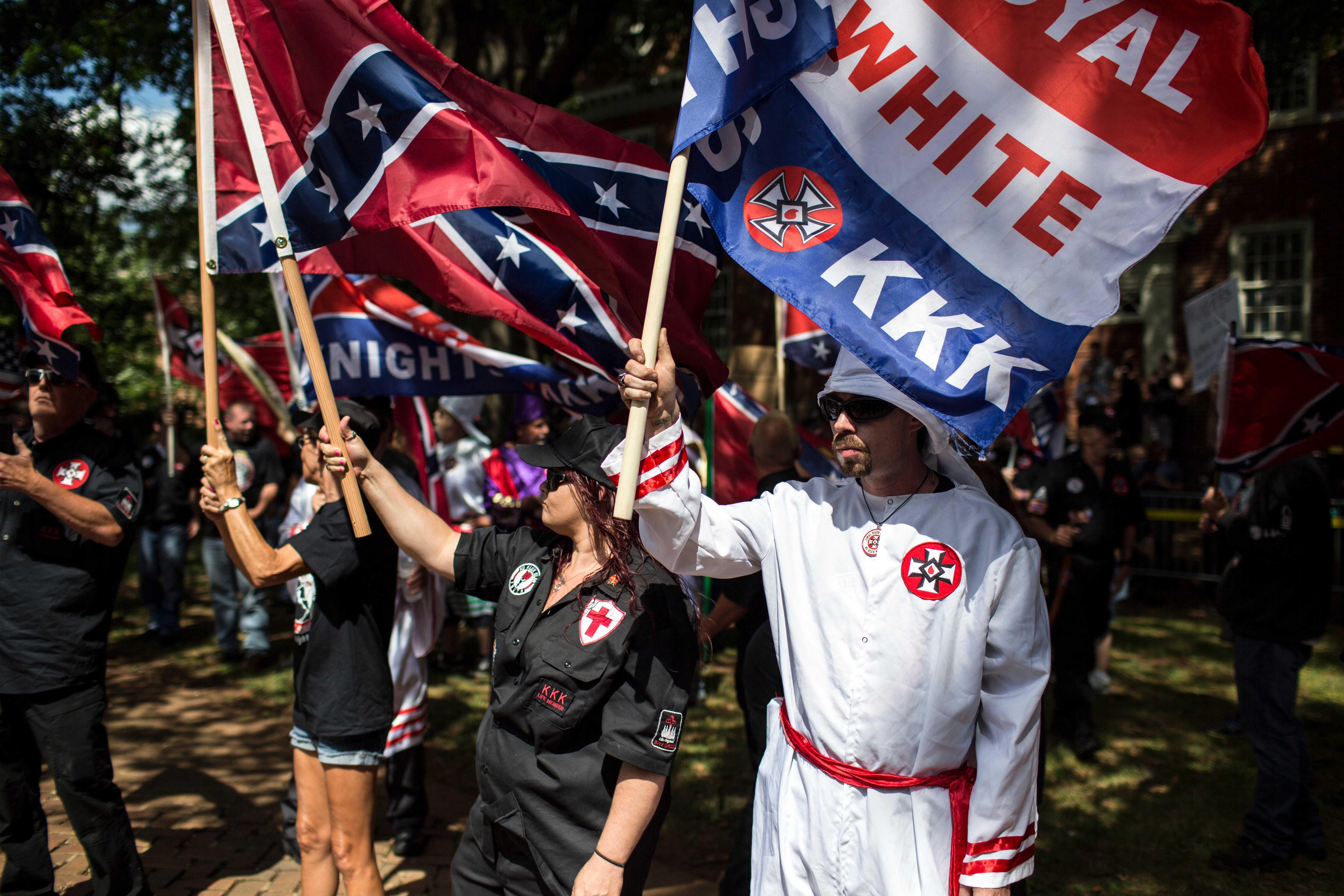 The Ku Klux Klan protests on July 8, 2017 in Charlottesville, Virginia. (Photo by Chet Strange/Getty Images)