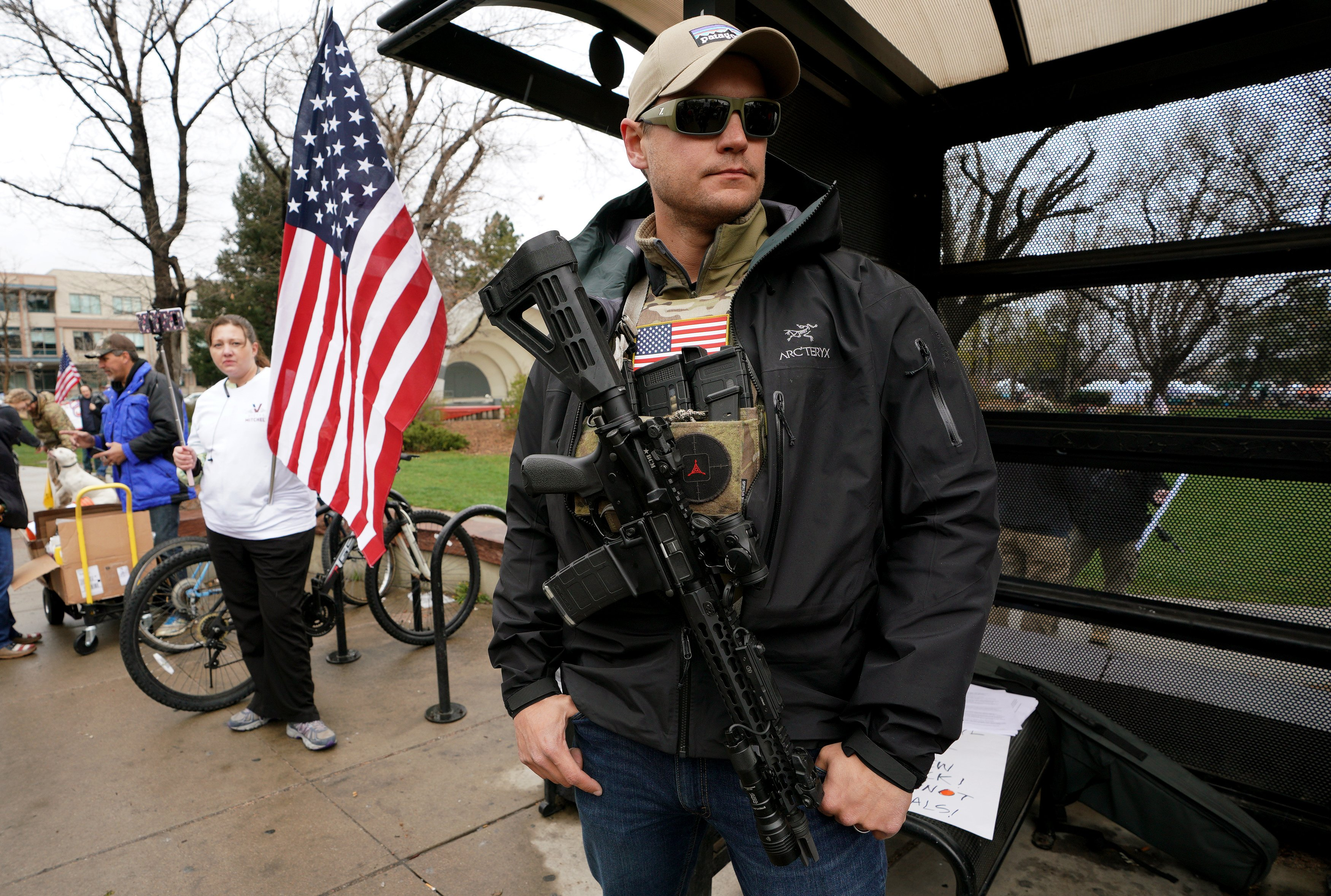 BOULDER, CO - APRIL 21: Marty Combs openly carries his AR-15 pistol at a pro gun rally on April 21, 2018 in Boulder, Colorado. The city of Boulder is considering enacting an ordinance that will ban the sale and possession of assault weapons in the city. (Photo by Rick T. Wilking/Getty Images)
