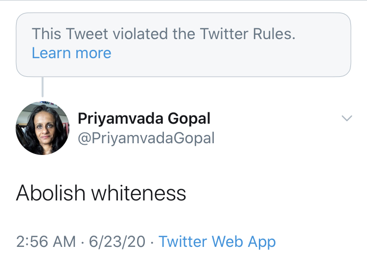 Screenshot: Priyamvada Gopal (@priyamvadagopal)/Twitter