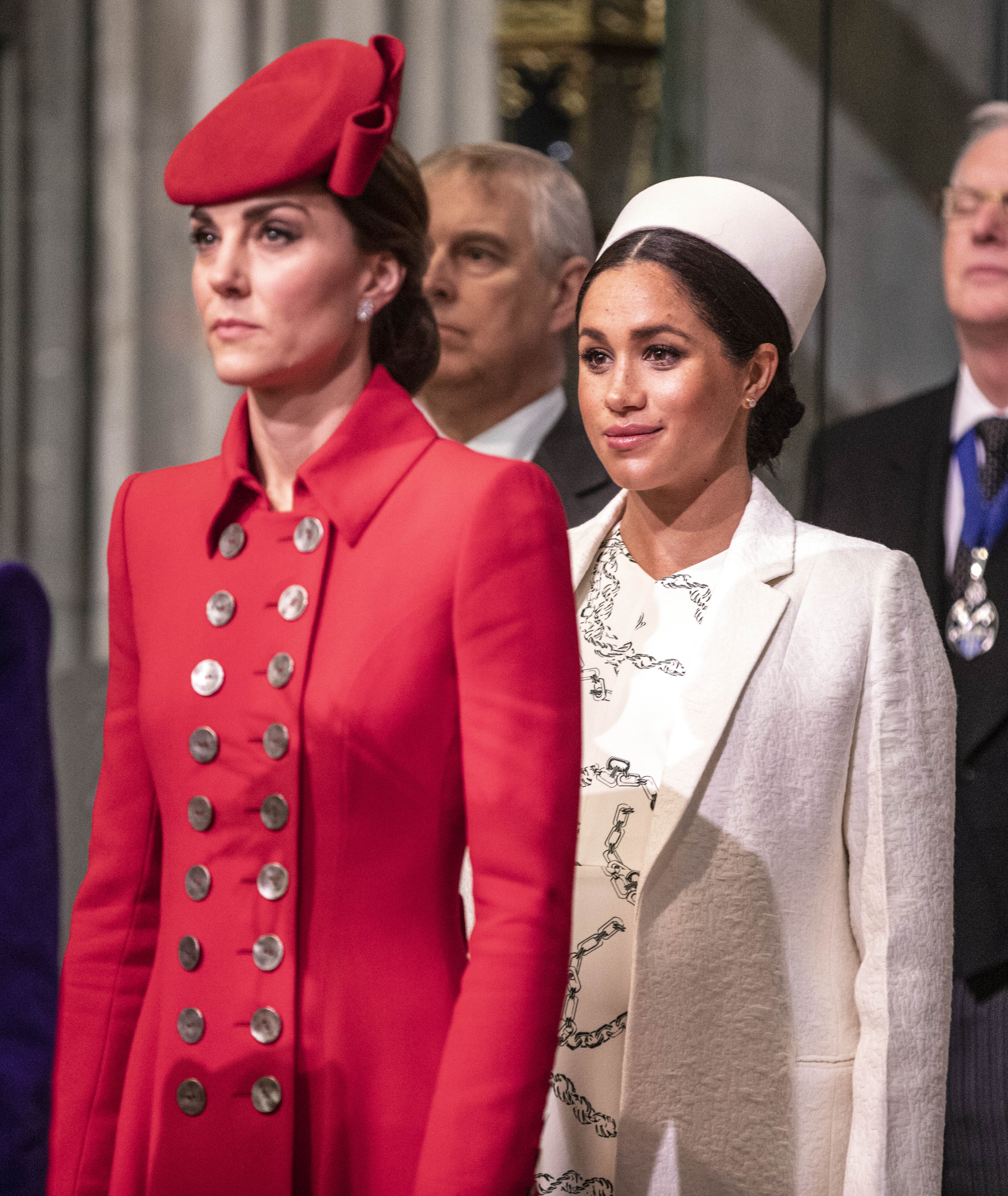 Catherine, The Duchess of Cambridge stands with Meghan, Duchess of Sussex at Westminster Abbey for a Commonwealth day service on March 11, 2019 in London, England. Commonwealth Day has a special significance this year, as 2019 marks the 70th anniversary of the modern Commonwealth, with old ties and new links enabling cooperation towards social, political and economic development which is both inclusive and sustainable. The Commonwealth represents a global network of 53 countries and almost 2.4 billion people, a third of the worlds population, of whom 60 percent are under 30 years old. Each year the Commonwealth adopts a theme upon which the Service is based. This years theme A Connected Commonwealth speaks of the practical value and global engagement made possible as a result of cooperation between the culturally diverse and widely dispersed family of nations, who work together in friendship and goodwill. The Commonwealths governments, institutions and people connect at many levels, including through parliaments and universities. They work together to protect the natural environment and the ocean which connects many Commonwealth nations, shore to shore. Cooperation on trade encourages inclusive economic empowerment for all people - particularly women, youth and marginalised communities. The Commonwealths friendly sporting rivalry encourages people to participate in sport for development and peace. (Photo by Richard Pohle - WPA Pool/Getty Images)