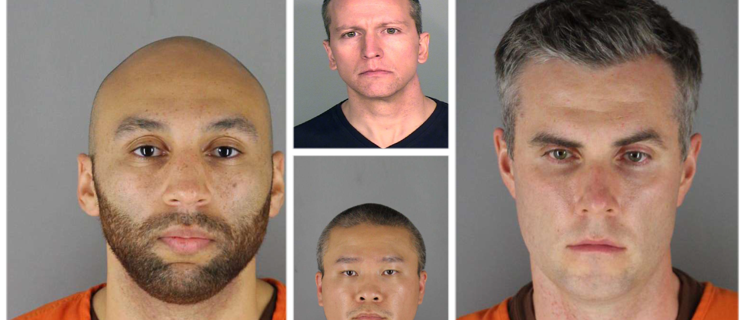 Fired Minneapolis police officers charged in the death of George Floyd. J. Alexander Kueng (left), Tou Thao (bottom middle), Derek Chauvin (top middle), Thomas Lane (right). Credit: Hennepin County Sheriffs Office via Getty Images