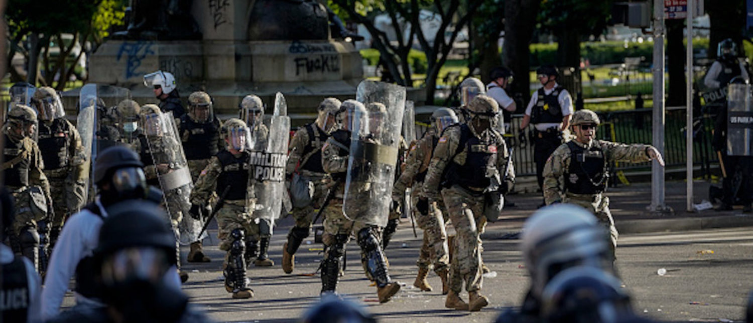 WASHINGTON, DC - JUNE 01: Law enforcement responds during a protest near Lafayette Park ahead of President Trump's trip to St. John's Church on June 1, 2020 in downtown Washington, DC. Protests and riots continue in cities across America following the death of George Floyd, who died after being restrained by Minneapolis police officer Derek Chauvin. Chauvin, 44, was charged last Friday with third-degree murder and second-degree manslaughter.. (Photo by Drew Angerer/Getty Images)