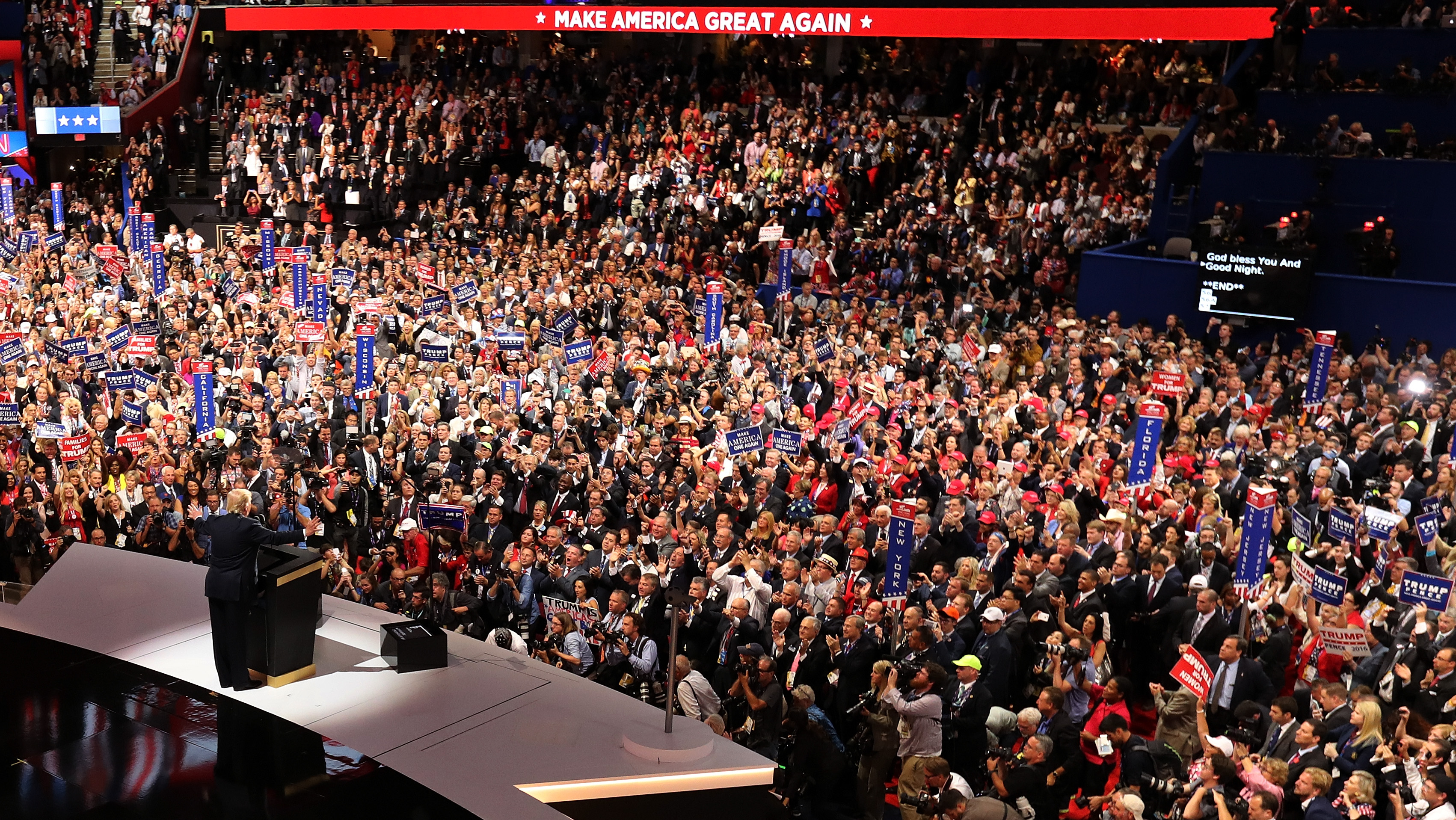CLEVELAND, OH - JULY 21: Republican presidential candidate Donald Trump acknowledges the crowd at the end of the Republican National Convention on July 21, 2016 at the Quicken Loans Arena in Cleveland, Ohio. Republican presidential candidate Donald Trump received the number of votes needed to secure the party's nomination. An estimated 50,000 people are expected in Cleveland, including hundreds of protesters and members of the media. The four-day Republican National Convention kicked off on July 18. (Photo by Chip Somodevilla/Getty Images)