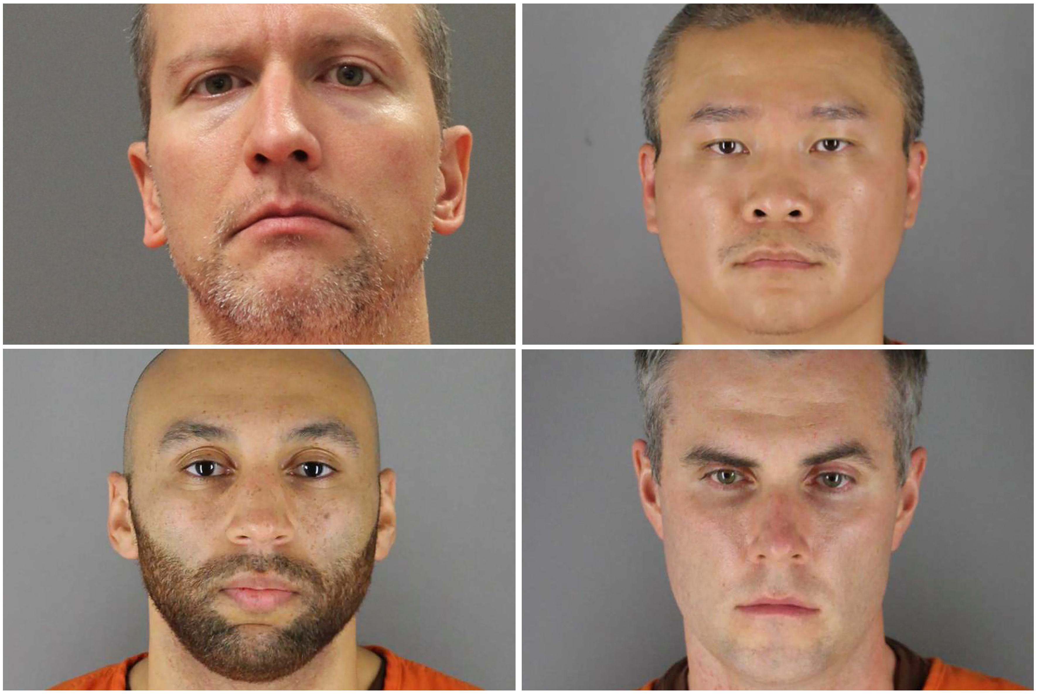 Former Minneapolis police officers (clockwise from top left) Derek Chauvin, Tou Thao, Thomas Lane and J. Alexander Kueng poses in a combination of booking photographs from the Minnesota Department of Corrections and Hennepin County Jail in Minneapolis, Minnesota, U.S. [Minnesota Department of Corrections and Hennepin County Sheriff's Office/Handout via REUTERS]
