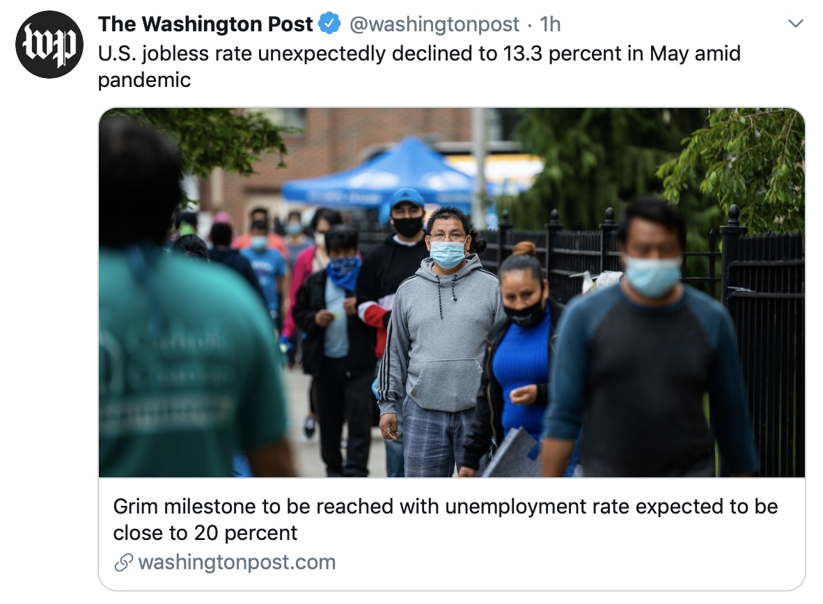 WaPo shared an inaccurate headline about May's jobs reports Friday. (Screenshot Twitter The Washington Post)