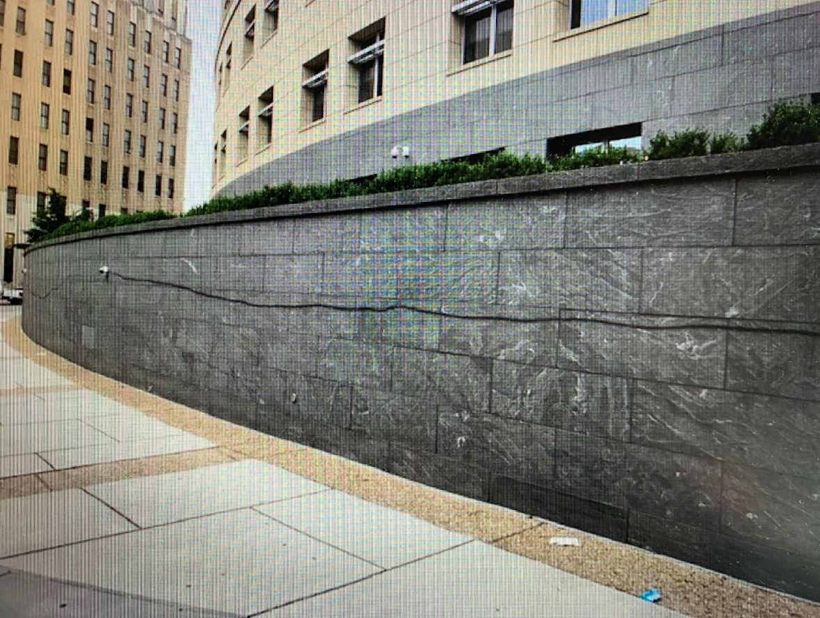Richmond Federal Courthouse spray painted with a thick black line on June 2, a marker known to be used by antifa to designate a target for potential vandalism or arson. (FBI SIR / Screenshot)