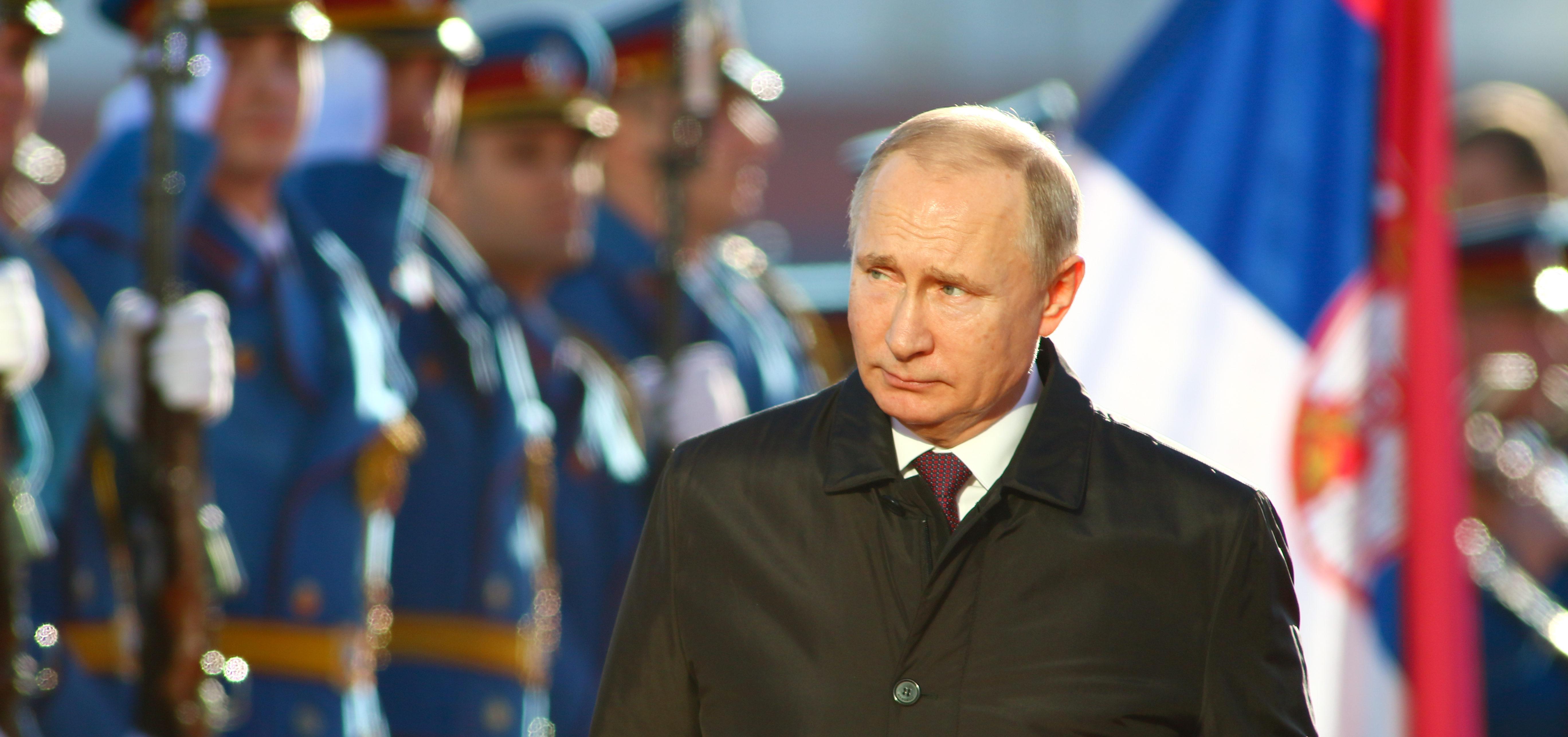 Belgrade, Serbia - January 17, 2019 : Vladimir Putin, the President Russia attending press conference (Shutterstock/Sasa Dzambic Photography)