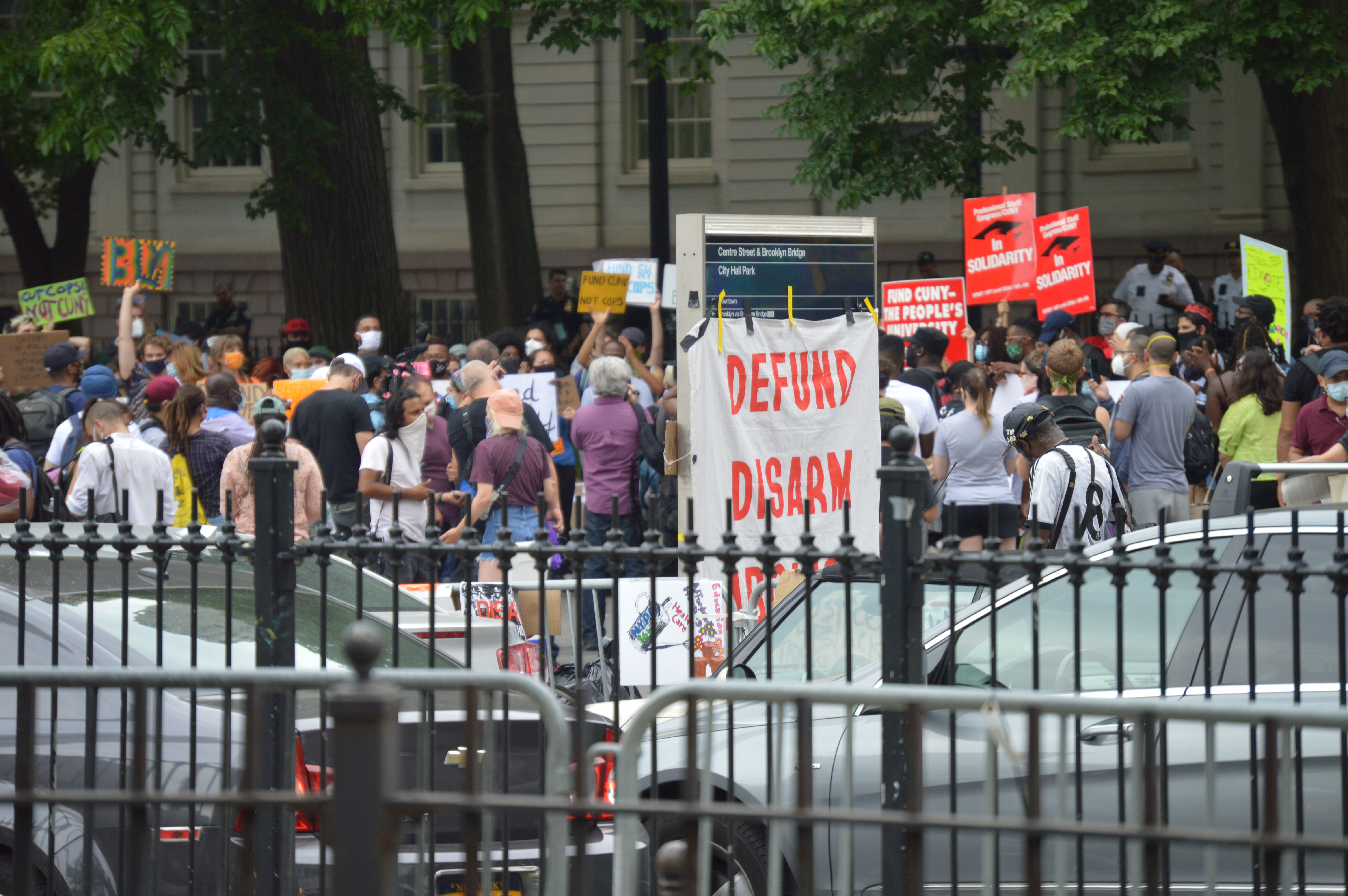 Demonstrators gathered in front of New York City Hall during Occupy City Hall protest to demand defunding NYPD & justice for George Floyd in Downtown Manhattan on June 27, 2020.