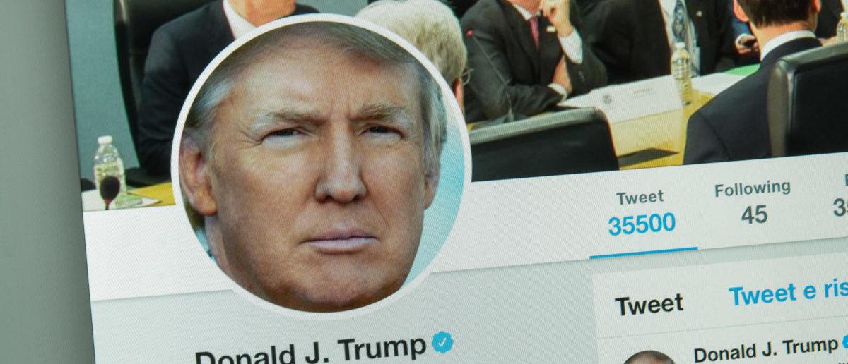 Milan, Italy - August 10, 2017: Donald Trump's twitter website page. [Casimiro PT/Shutterstock]
