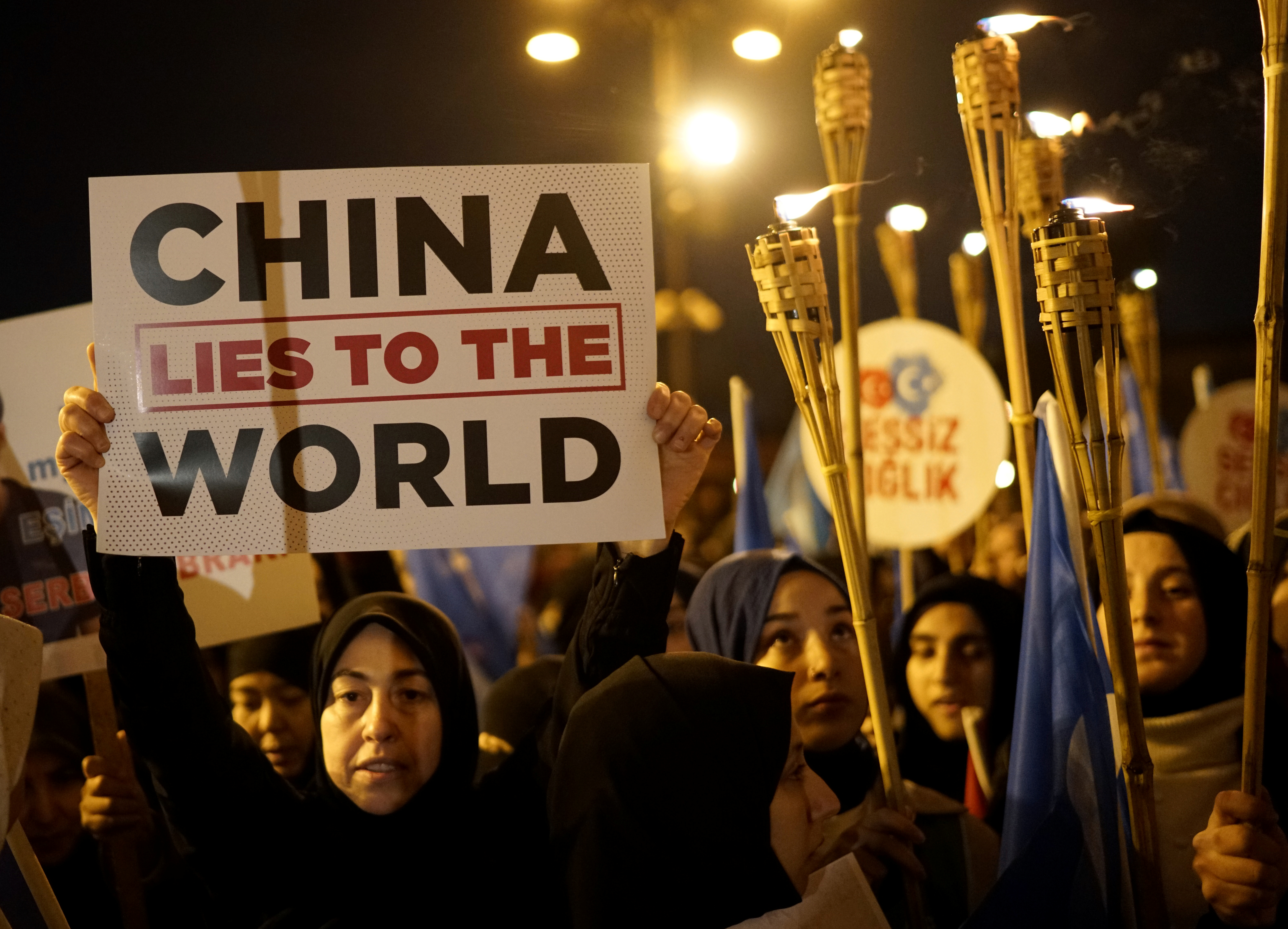 Protesters march in support of China's Uighurs and in solidarity with Arsenal midfielder Mesut Ozil after the furore caused by his criticism of China's policies toward the Muslim minority in Istanbul, Turkey, December 20, 2019. REUTERS/Umit Bektas